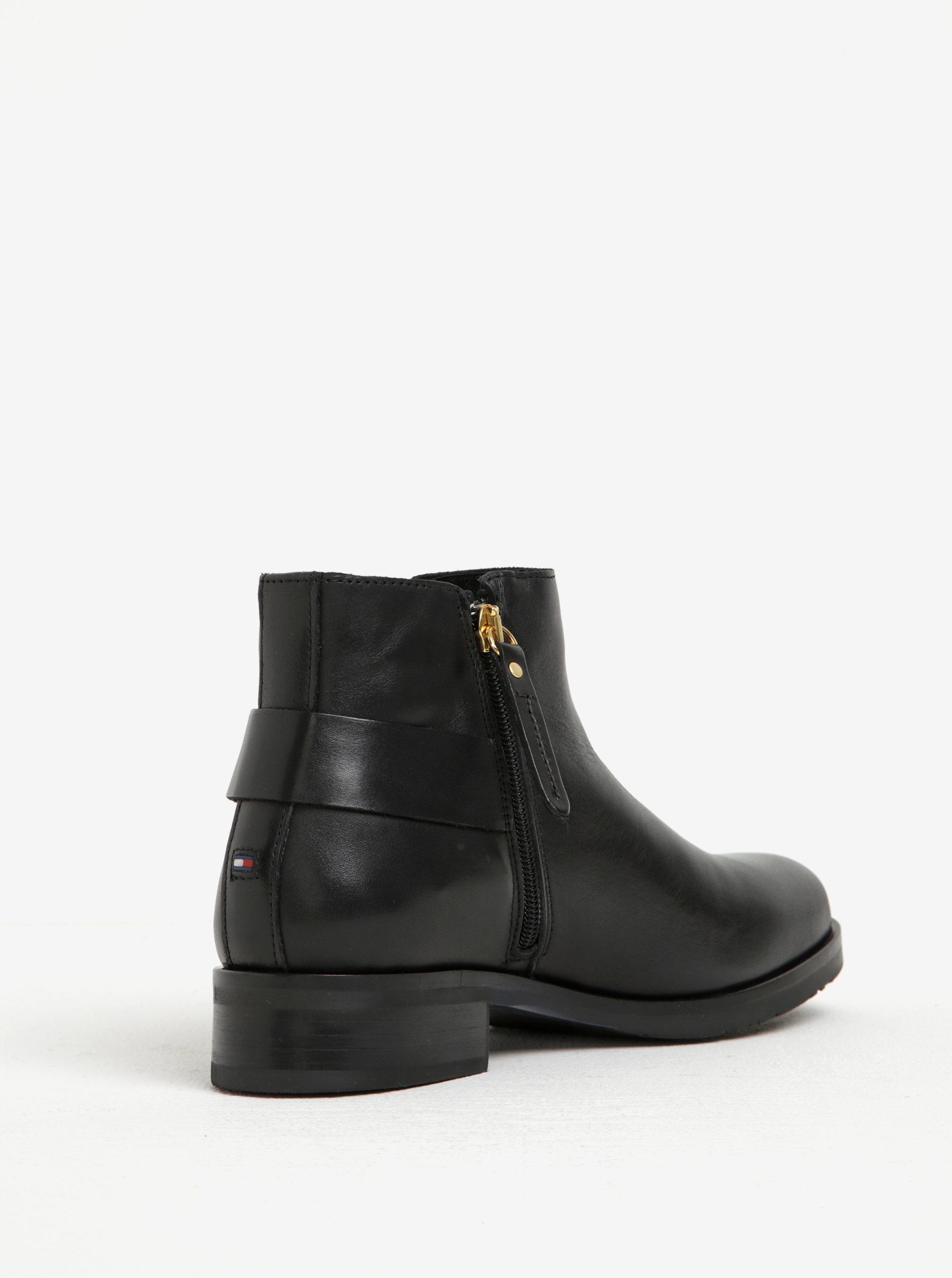 Černé dámské kožené kotníkové boty s přezkou Tommy Hilfiger Tessa ... acd9a95a291