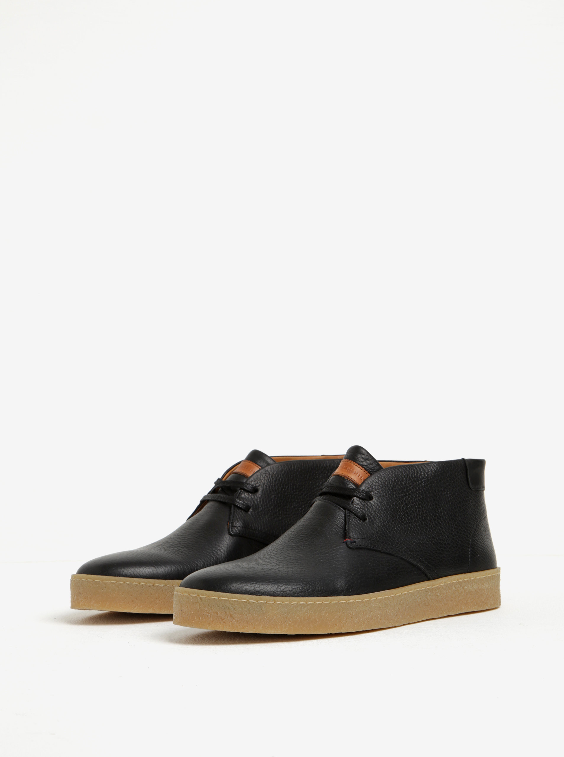 Černé pánské kožené kotníkové boty Tommy Hilfiger Logan ... cf7646234d