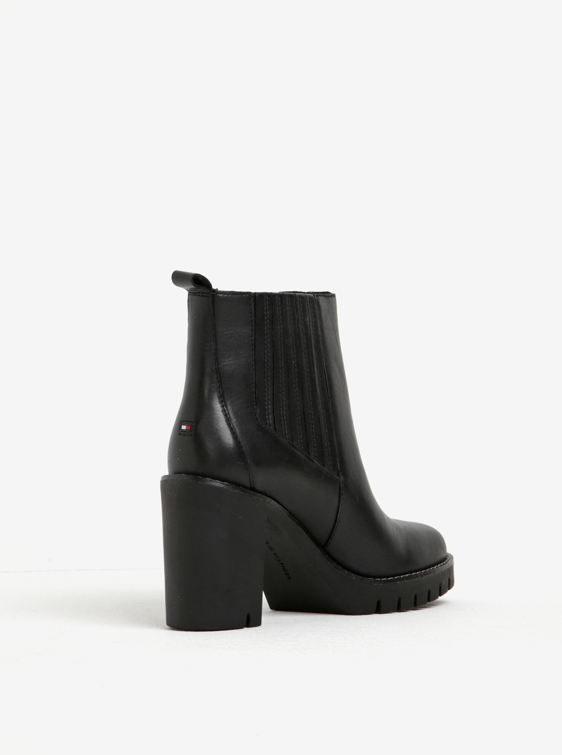 839c3a3f93ce Čierne dámske kožené chelsea topánky na vysokom podpätku Tommy Hilfiger  Paola ...