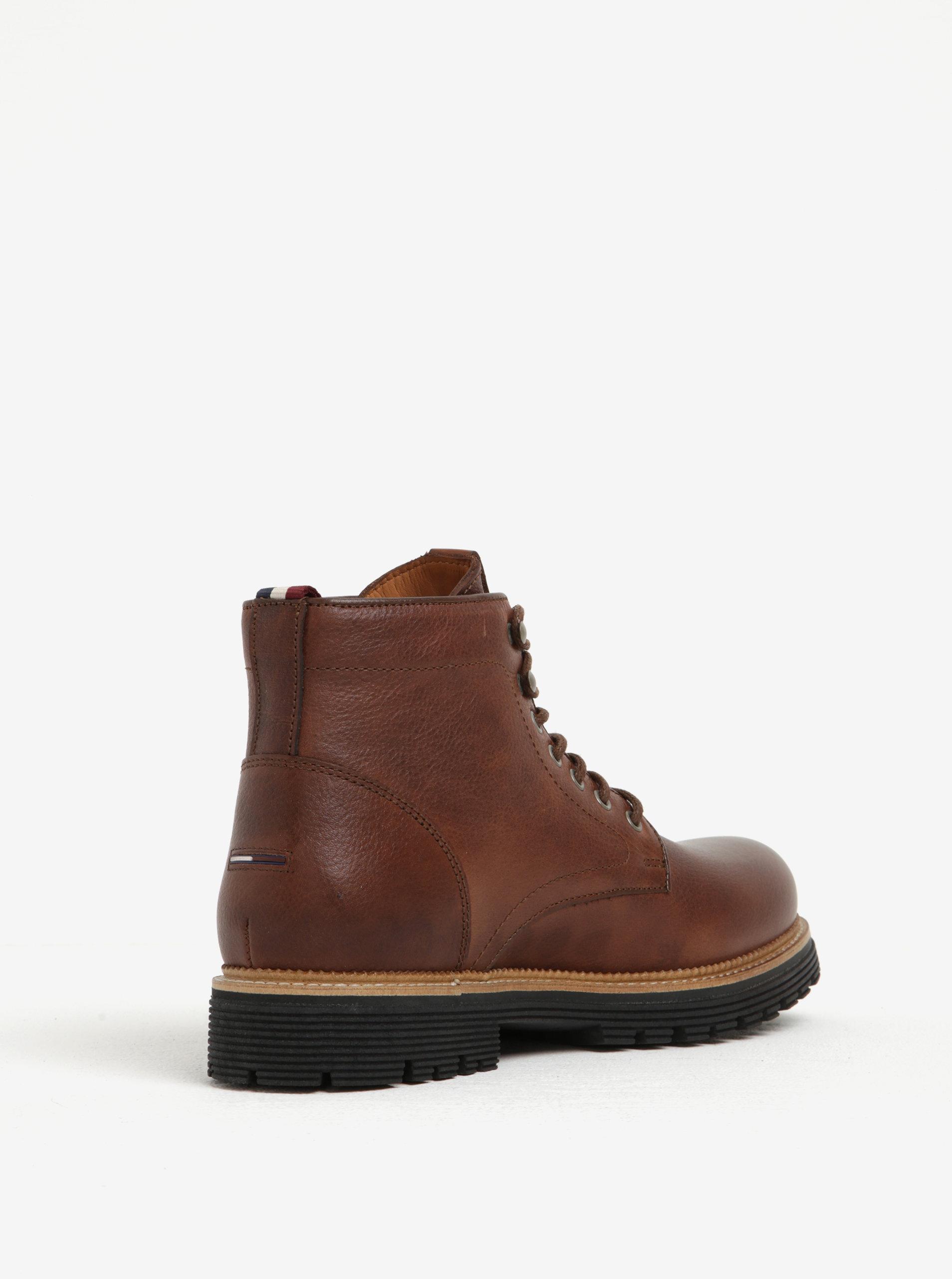 9cbfe354248 Hnědé pánské kožené kotníkové boty Tommy Hilfiger Louis ...