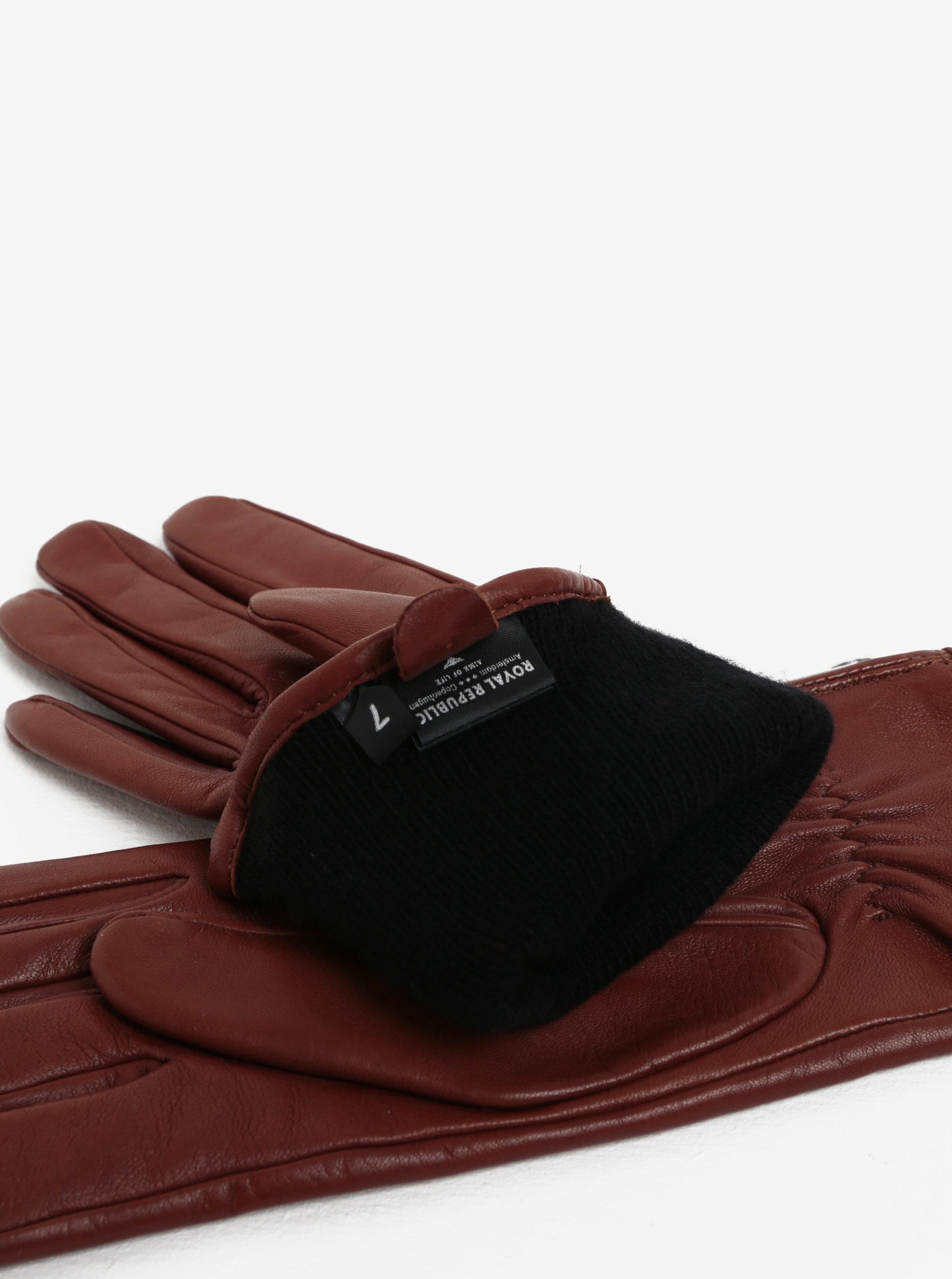 e711ce499fb3 Hnedé dámske kožené rukavice s kašmírovou podšívkou Royal RepubliQ ...