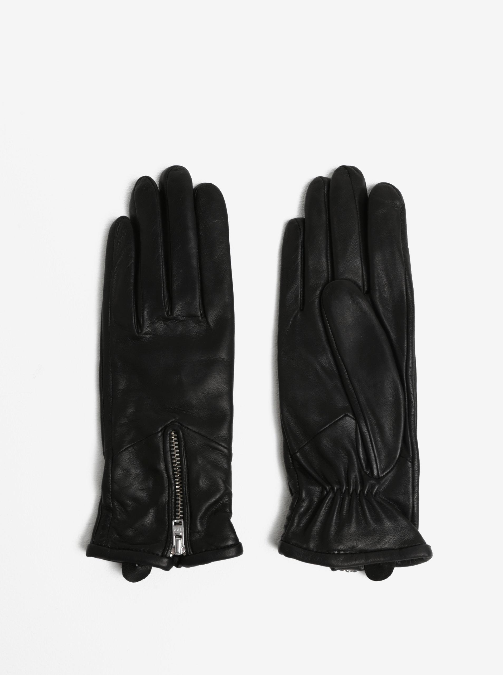 Černé dámské kožené rukavice se zipem a kašmírovou podšívkou Royal RepubliQ  ... dfd9867248