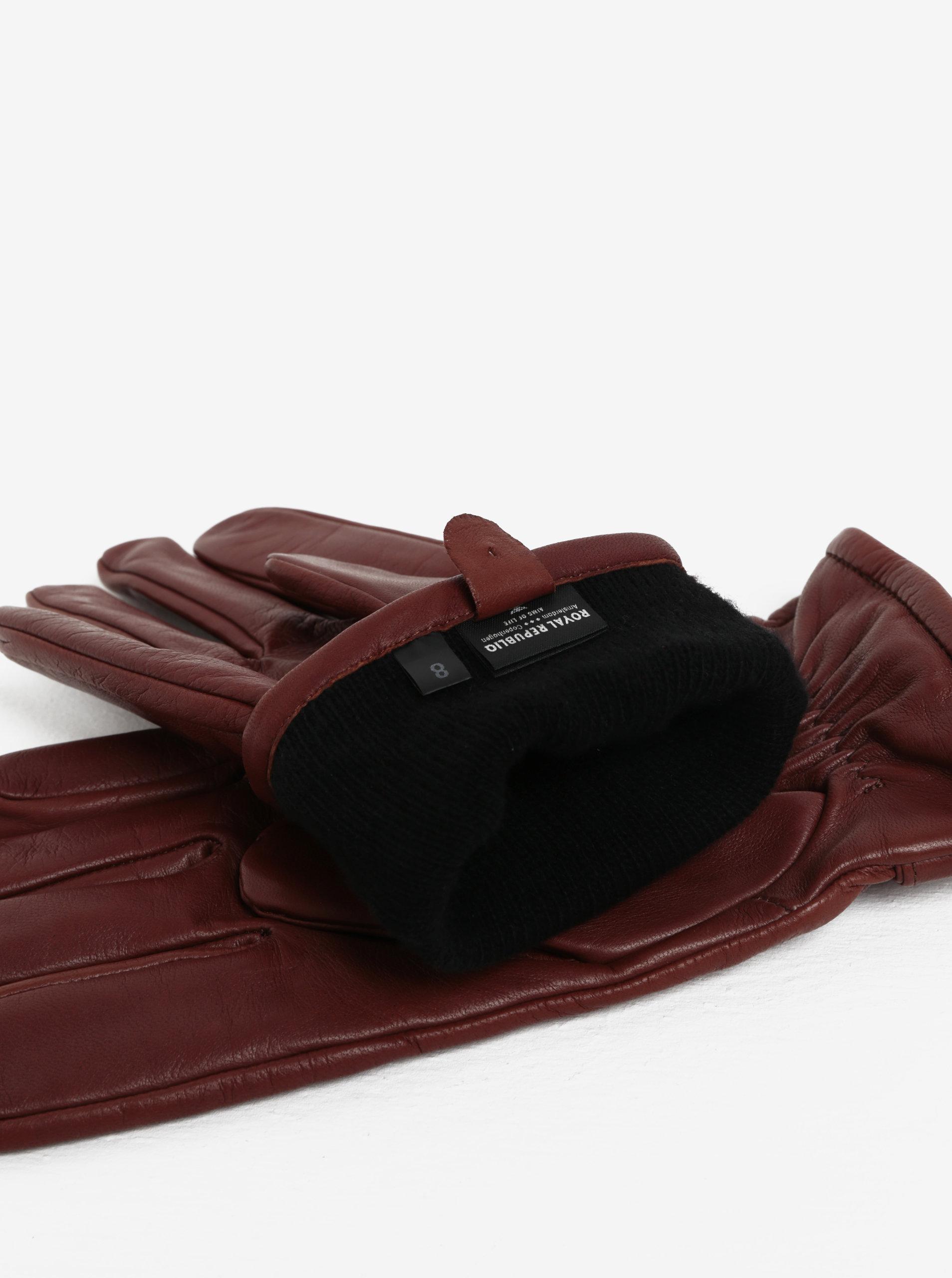 Hnědé pánské kožené rukavice s kašmírovou podšívkou Royal RepubliQ ... 79b41b13df