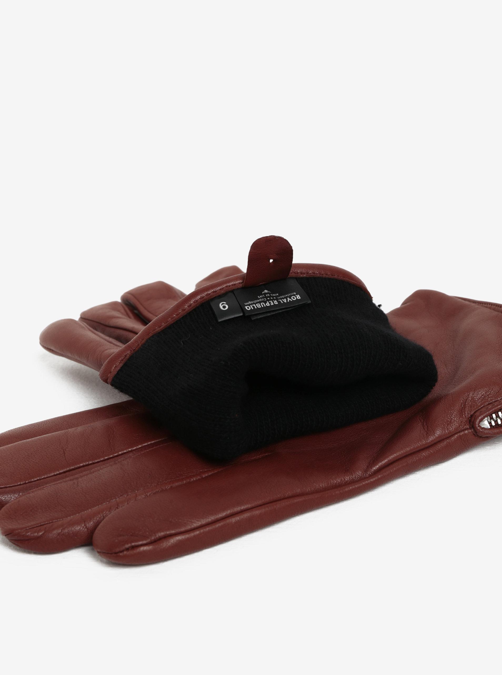 53d03fdecb9c Hnedé pánske kožené rukavice so zipsom a kašmírovou podšívkou Royal RepubiQ  ...