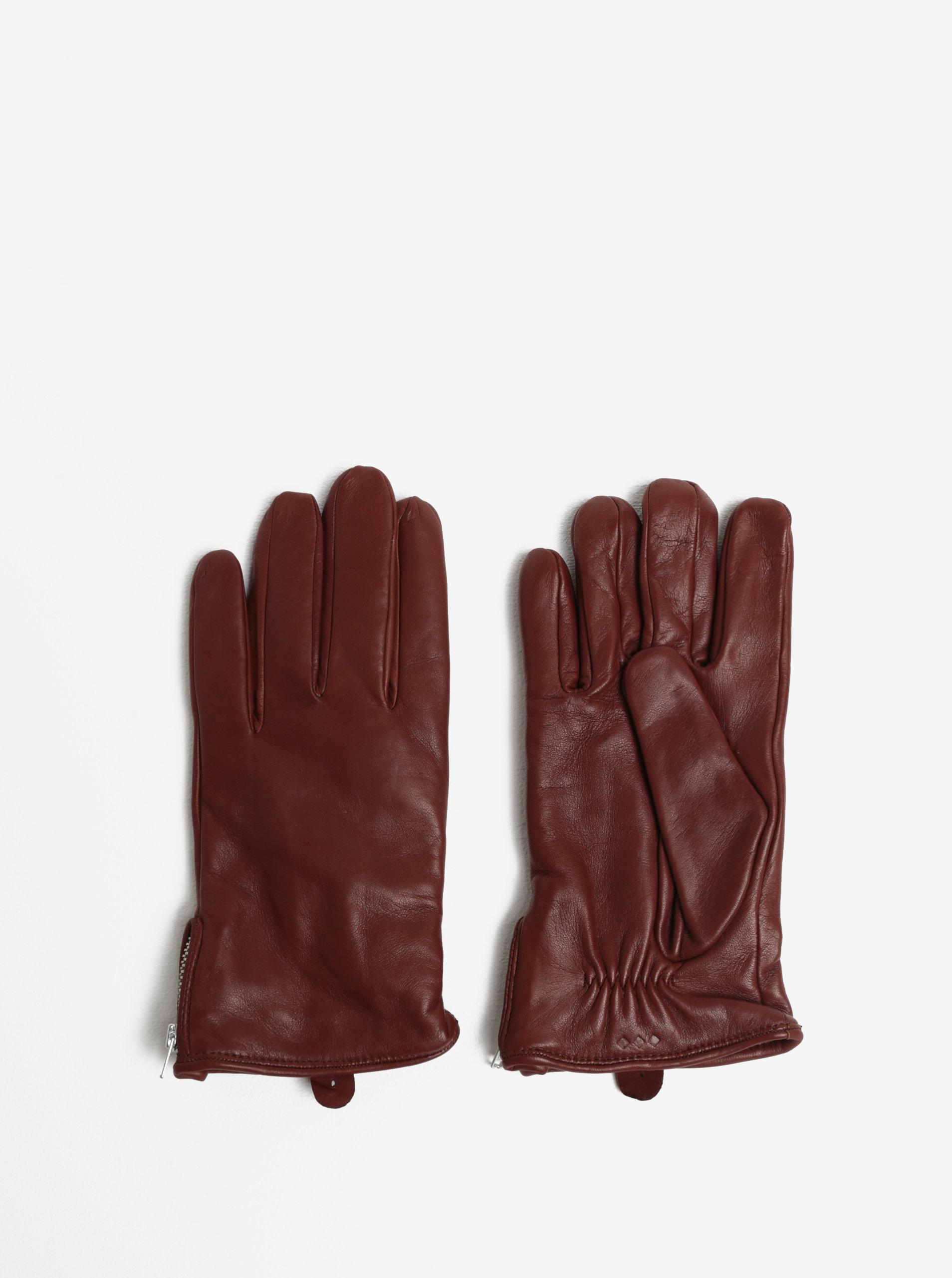 338f0f4e4f6 Hnědé pánské kožené rukavice se zipem a kašmírovou podšívkou Royal RepubliQ  ...