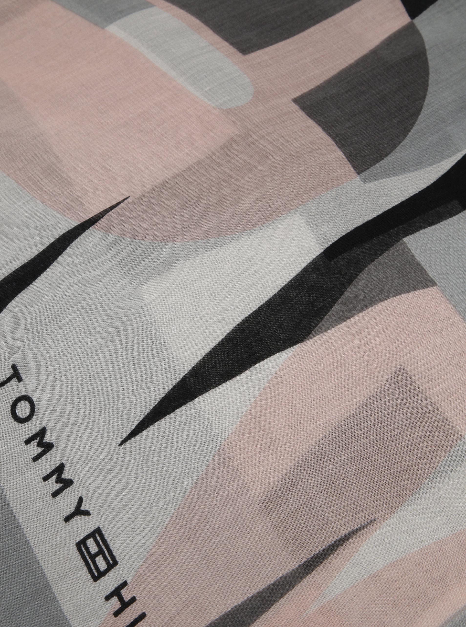 6d2f79ea2aab Sivo-ružová dámska vzorovaná šatka Tommy Hilfiger Tommy ...