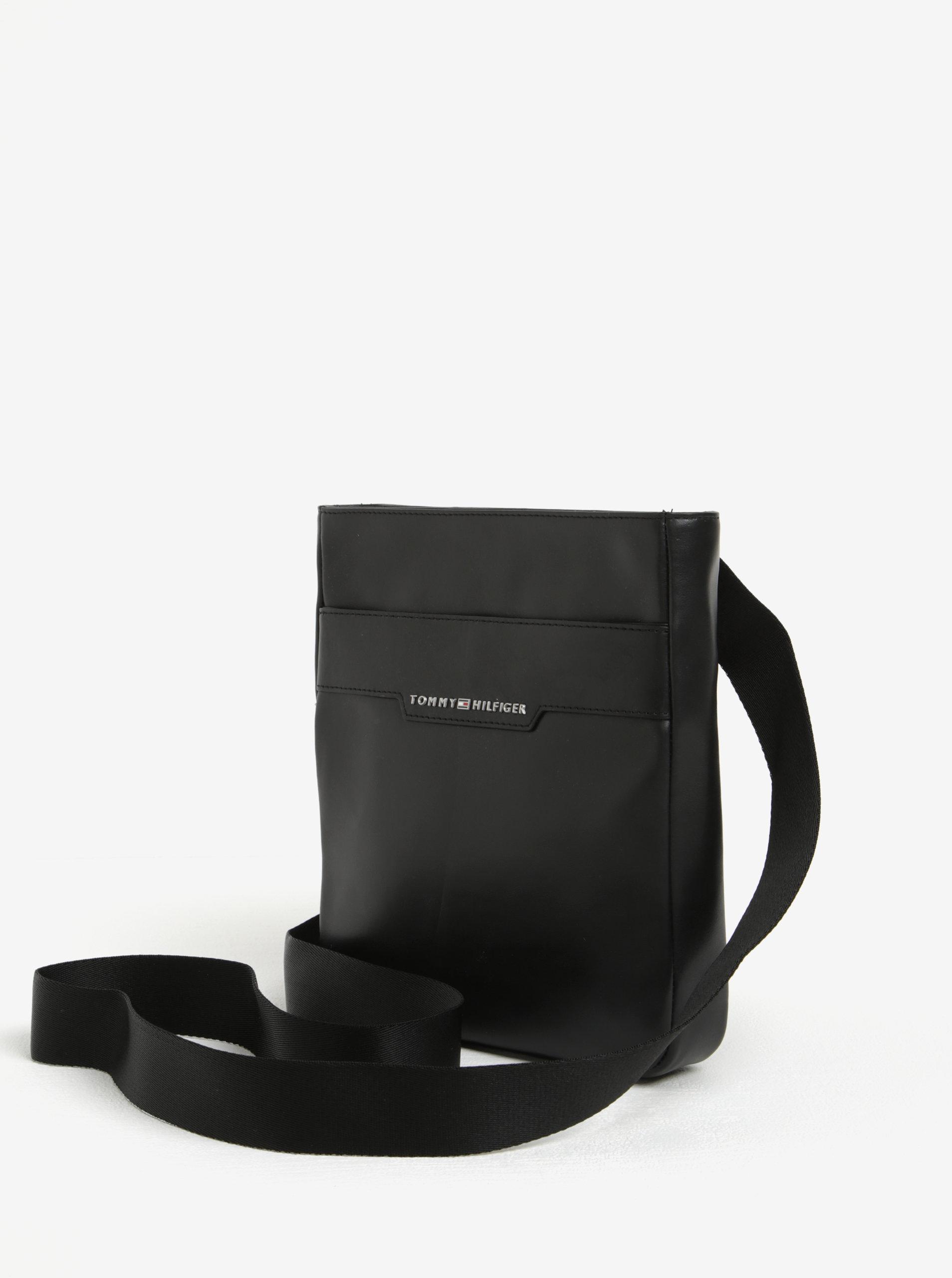 Čierna pánska kožená crossbody taška Tommy Hilfiger Smooth ... 3882f9b9bac