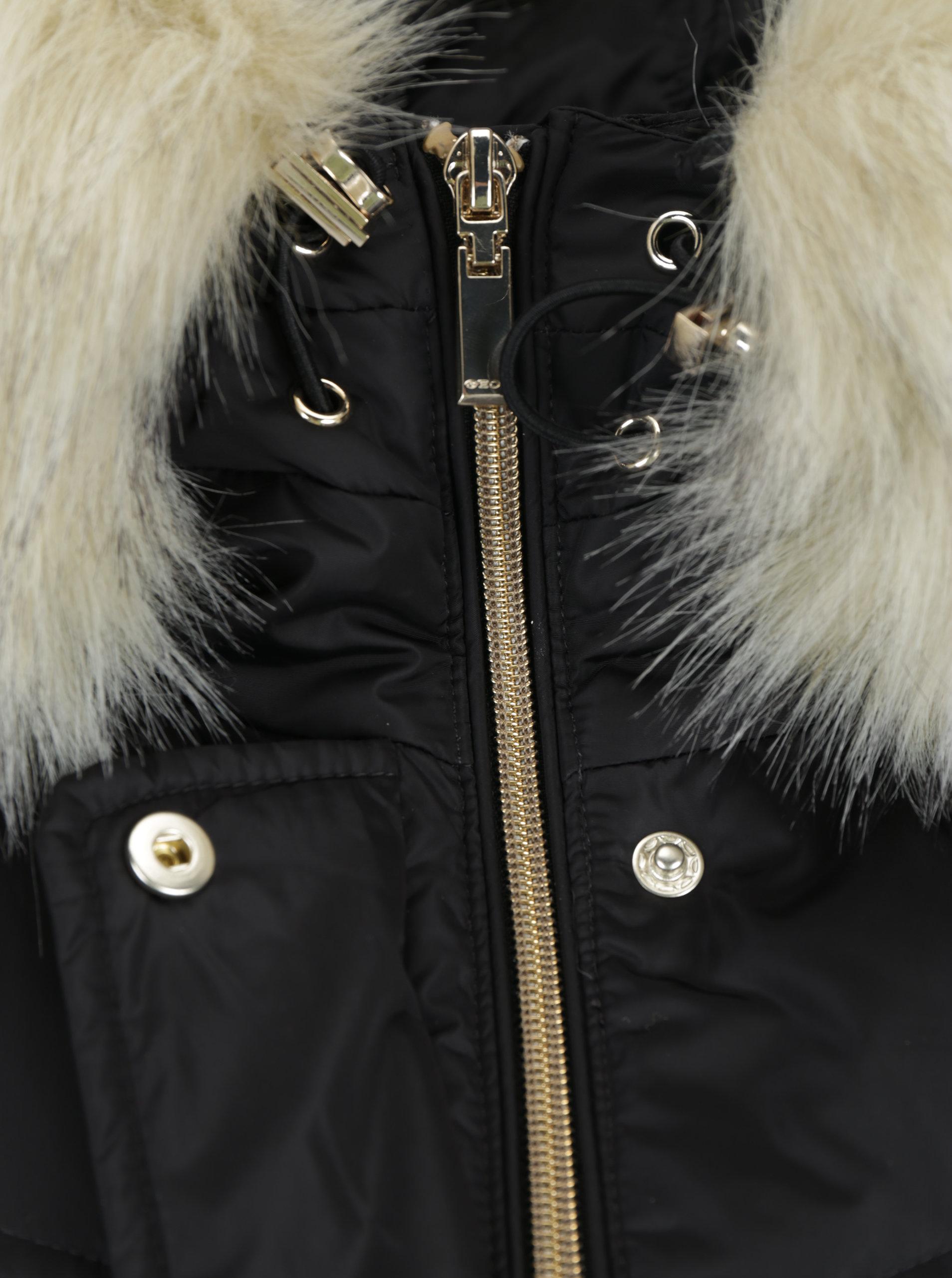 Černý dámský prošívaný kabát s odepínatelným kožíškem Geox ... 6343022218