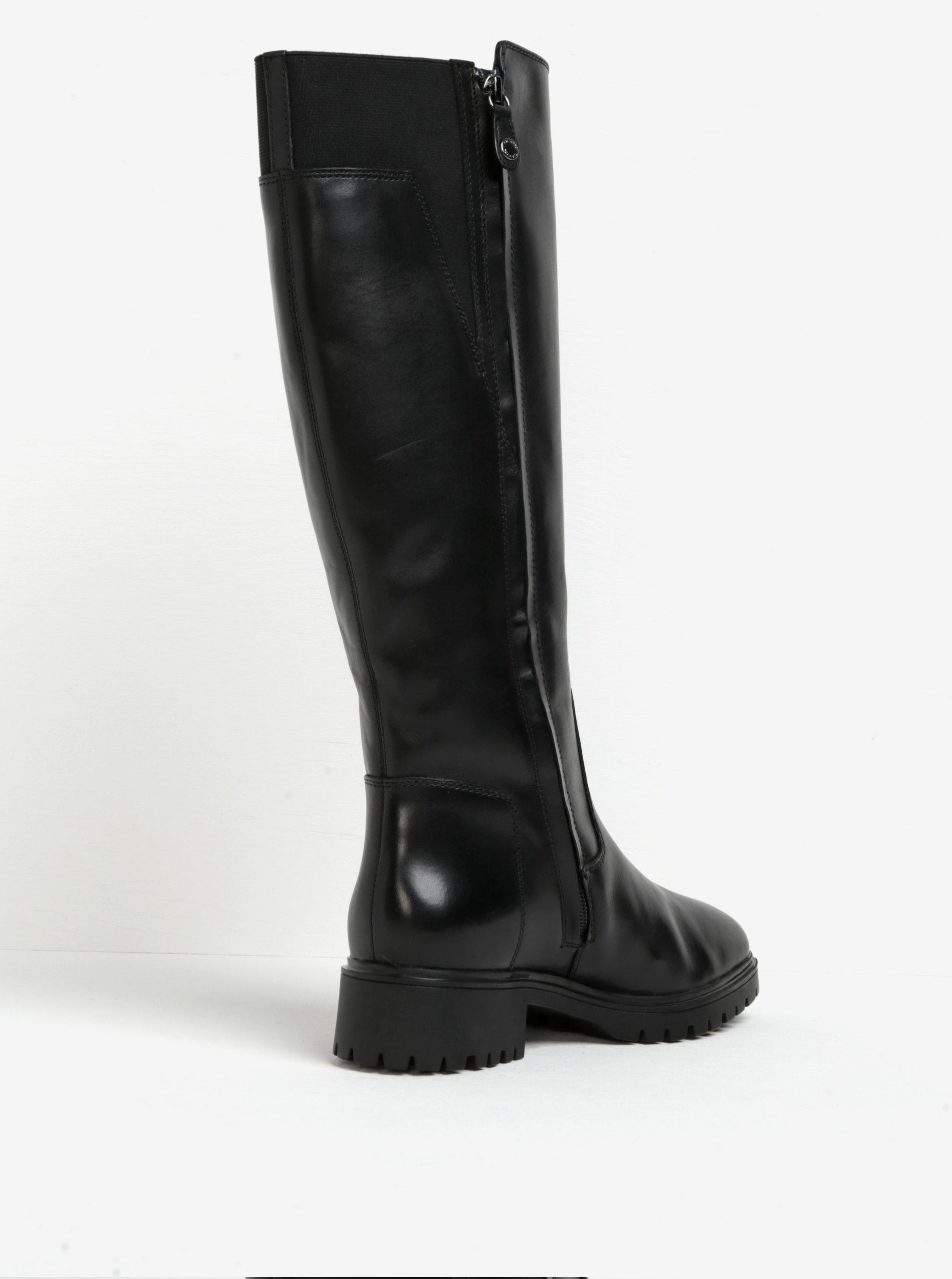 8fe14e4a6 Čierne zateplené kožené čižmy s gumenou vložkou Geox Peaceful | ZOOT.sk