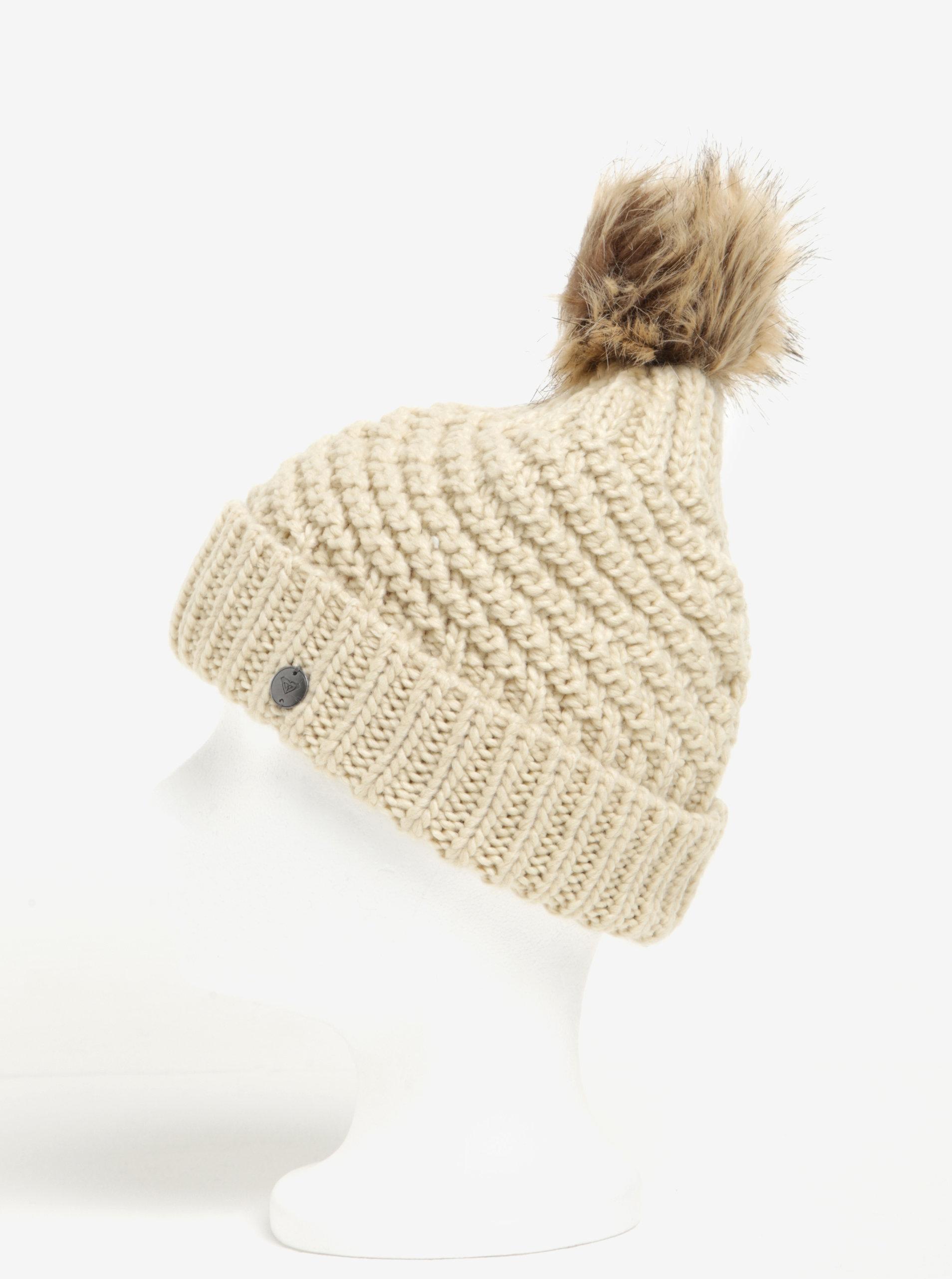 33d99917205 Béžová dámská pletená čepice s bambulí Roxy Blizzard ...