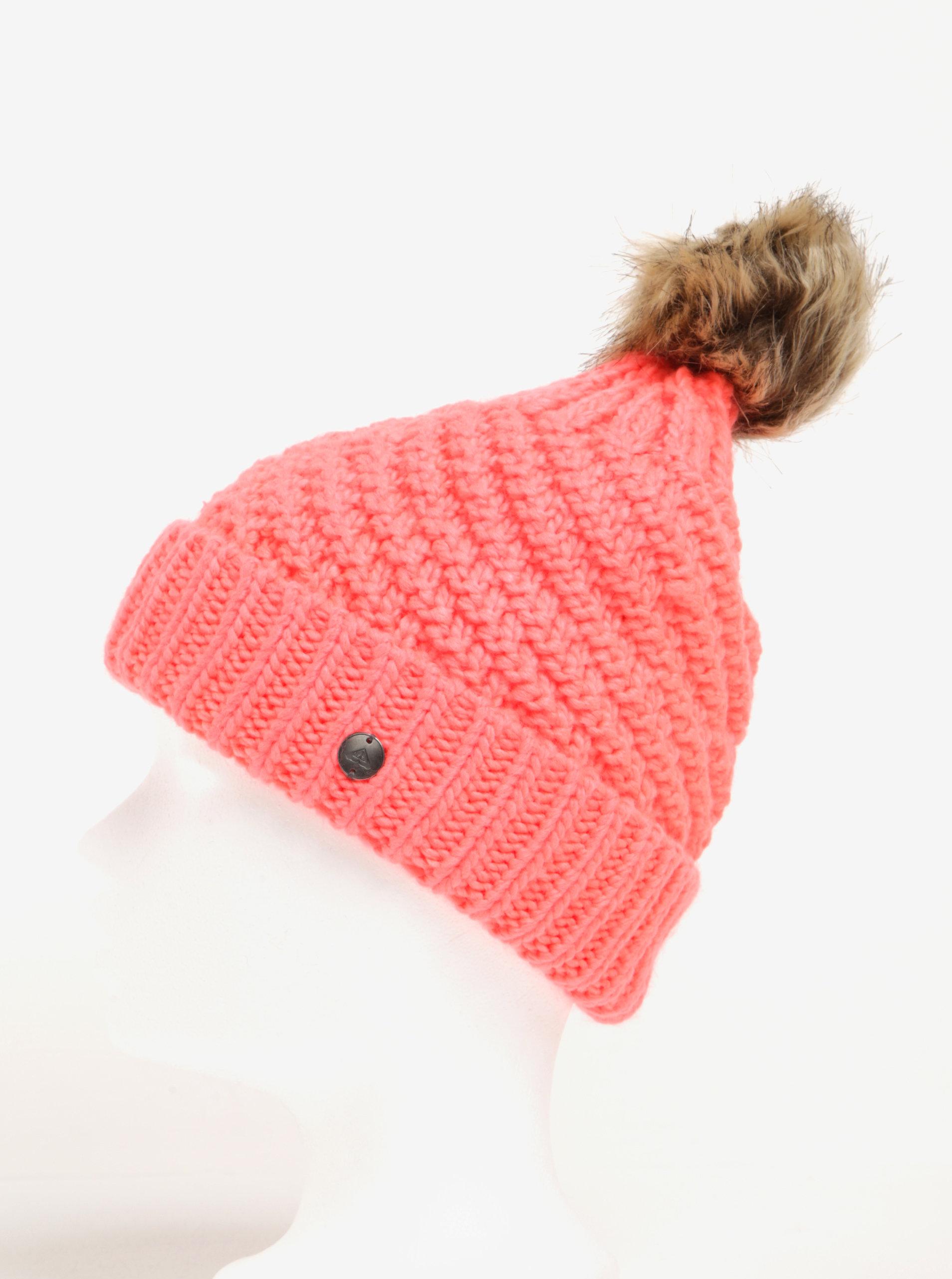 4eb0b4e3651 Neonově růžová dámská pletená čepice s bambulí Roxy Blizzard ...