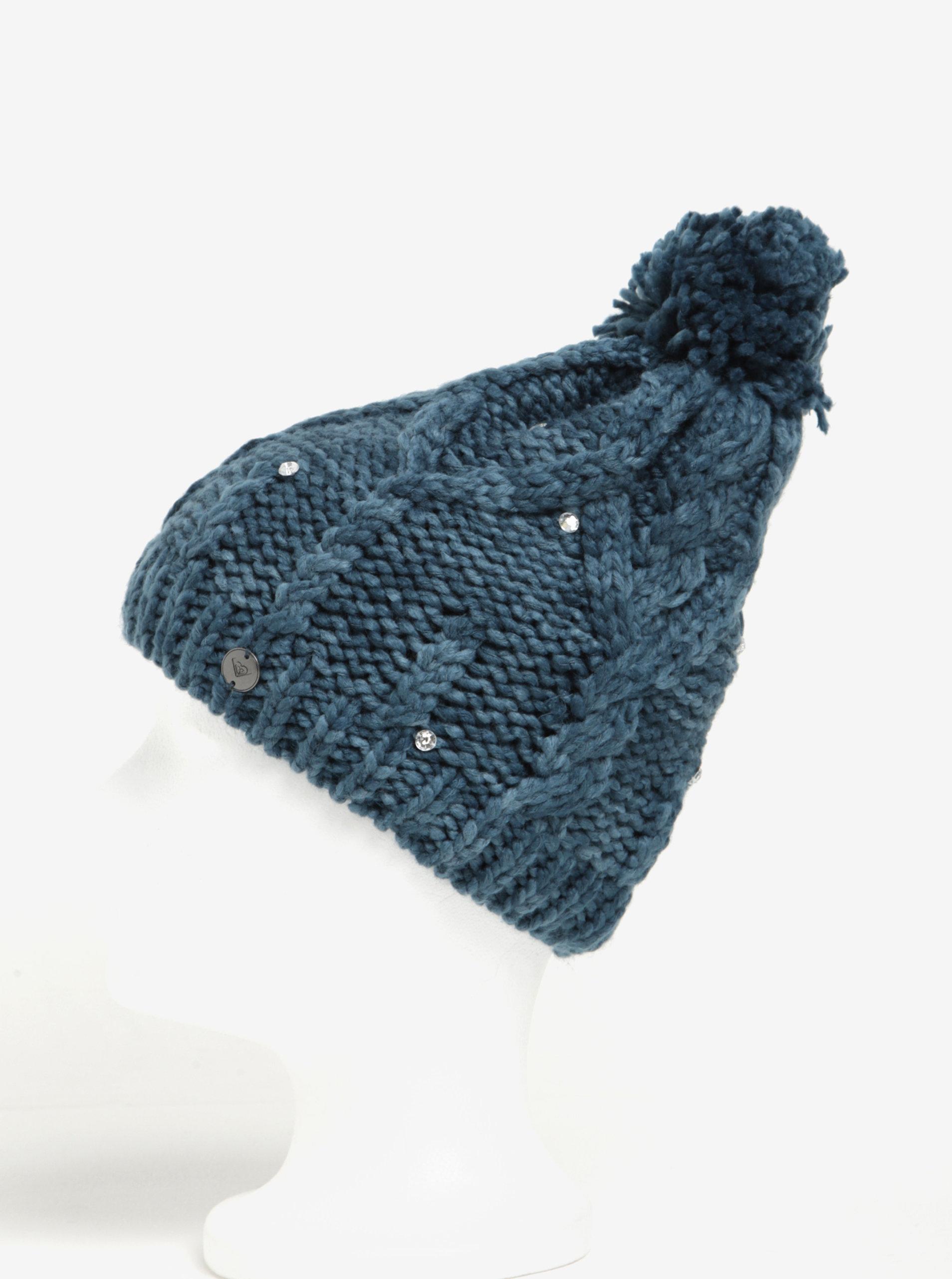 Petrolejová dámská pletená čepice s kamínky Roxy Shoot Star ... 3e69c9f630