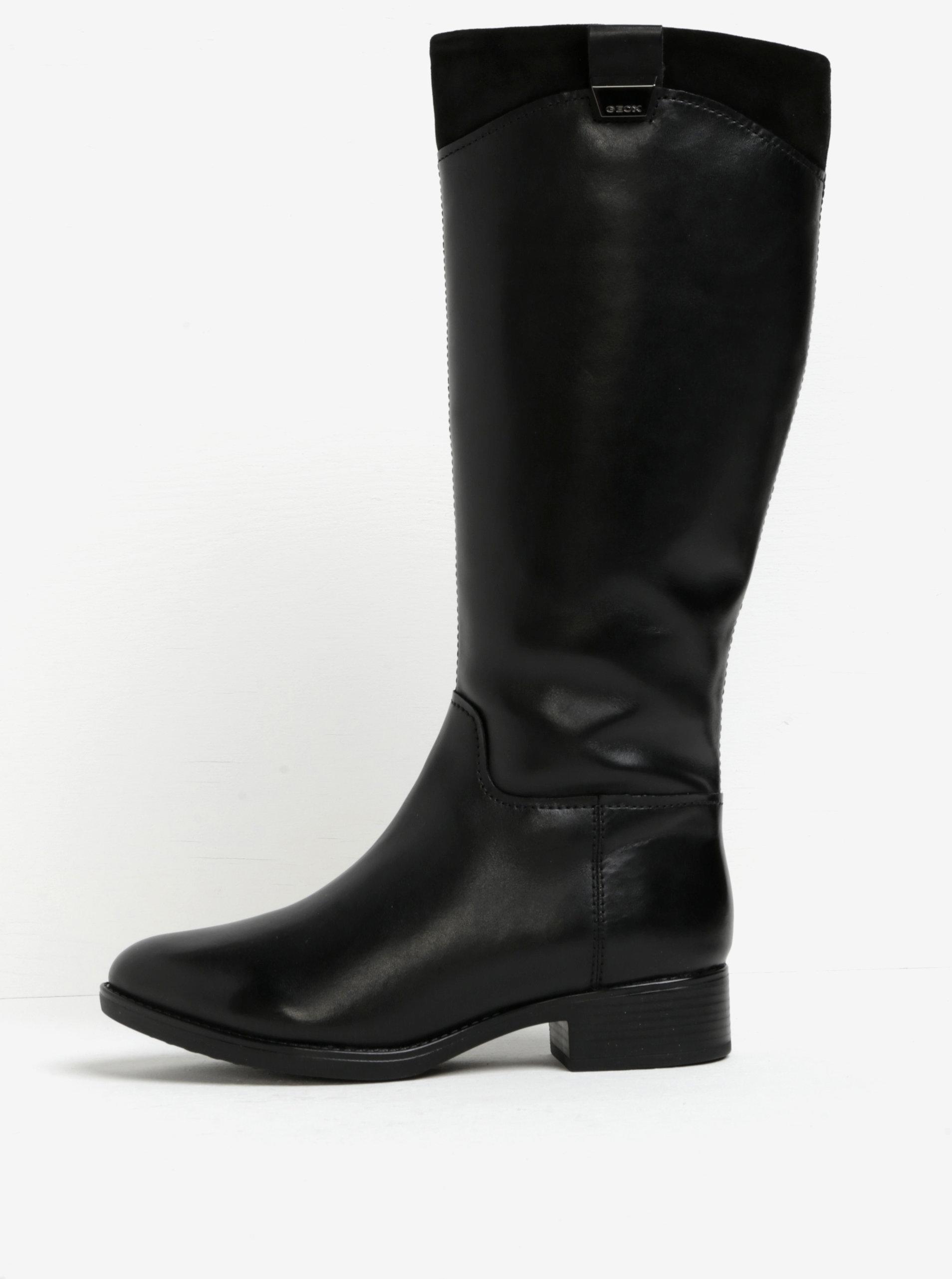 Čierne kožené zateplené čižmy Geox Felicity ... 29b0c4f442e