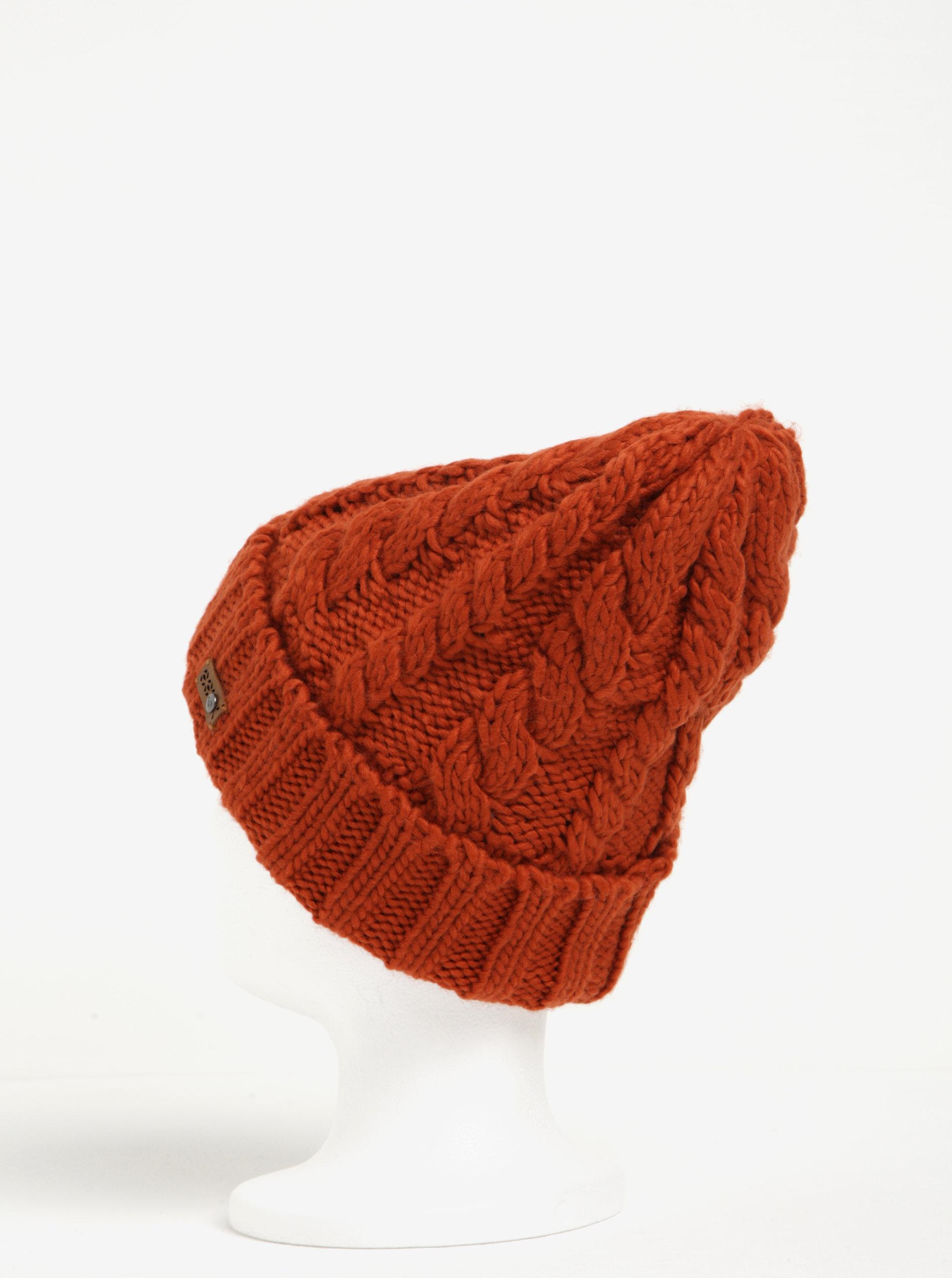 Cihlová dámská pletená čepice Roxy Tram ... 95bc4d6329