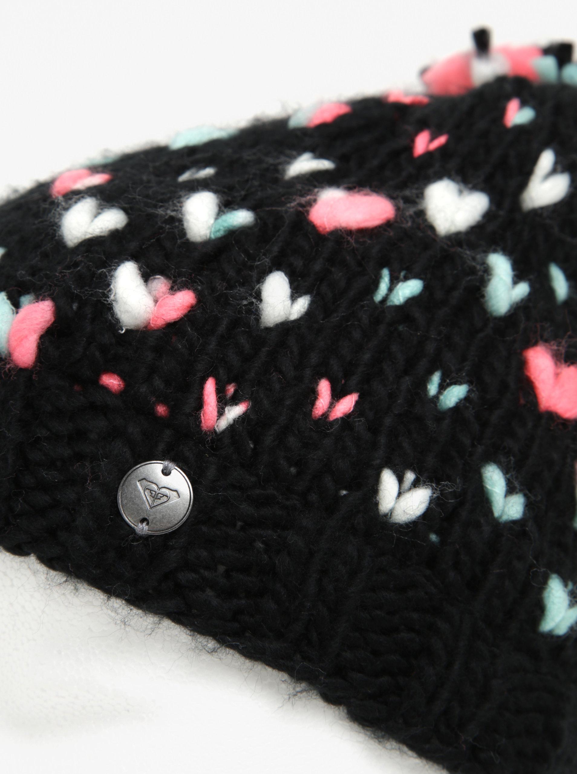 43919f5b4 Čierna dievčenská pletená vzorovaná čiapka s brmbolcom Roxy Dena ...