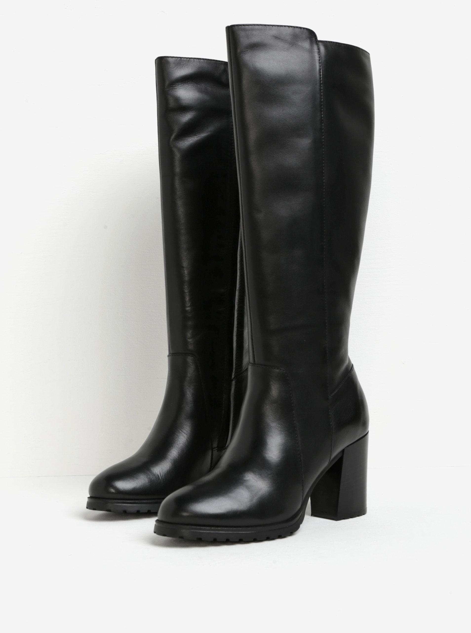 Čierne kožené čižmy s gumovou vložkou Geox New Lise ... 0f629a79710