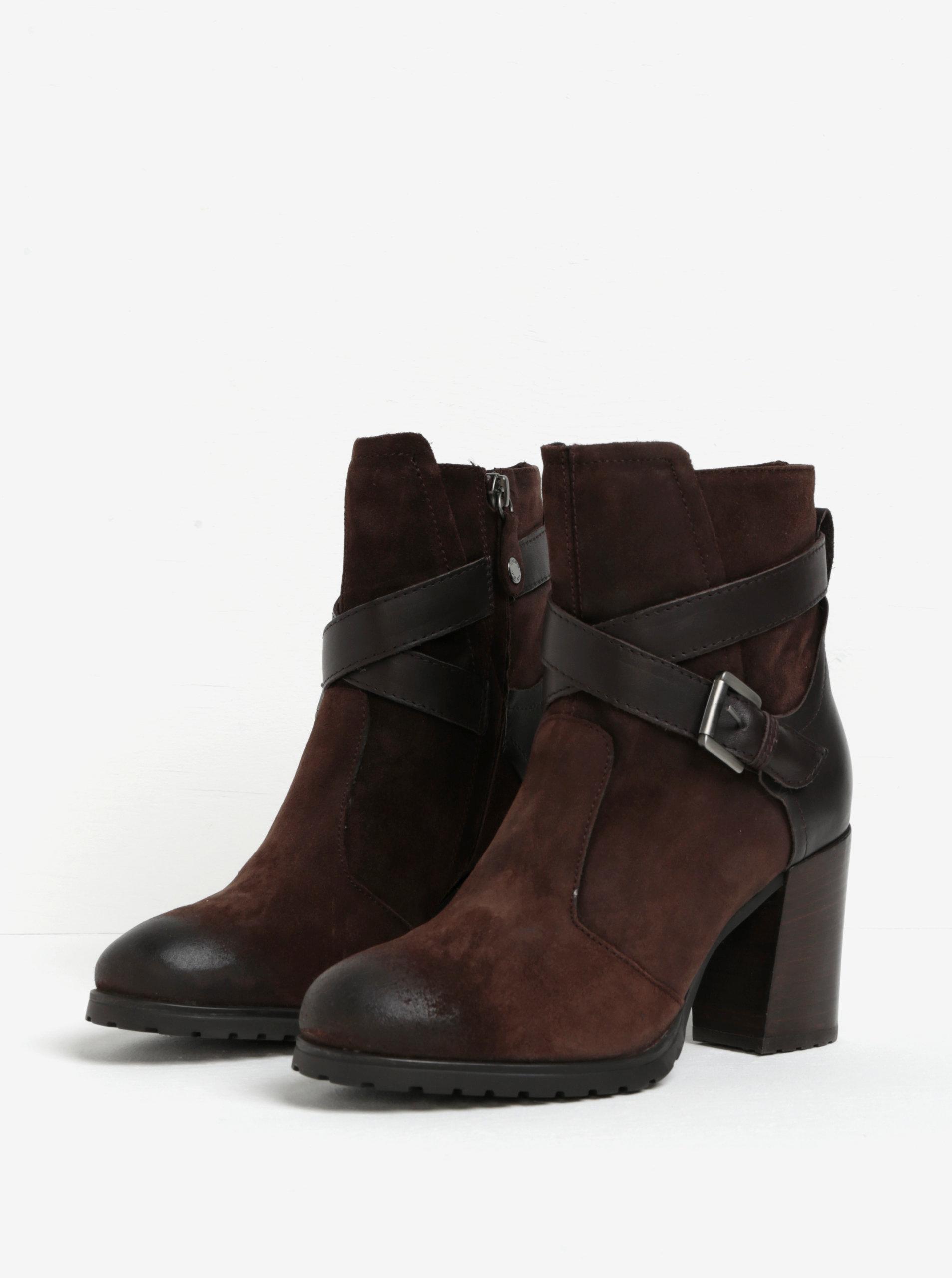 652bec0910 Tmavohnedé semišové členkové topánky na podpätku Geox New Lise ...