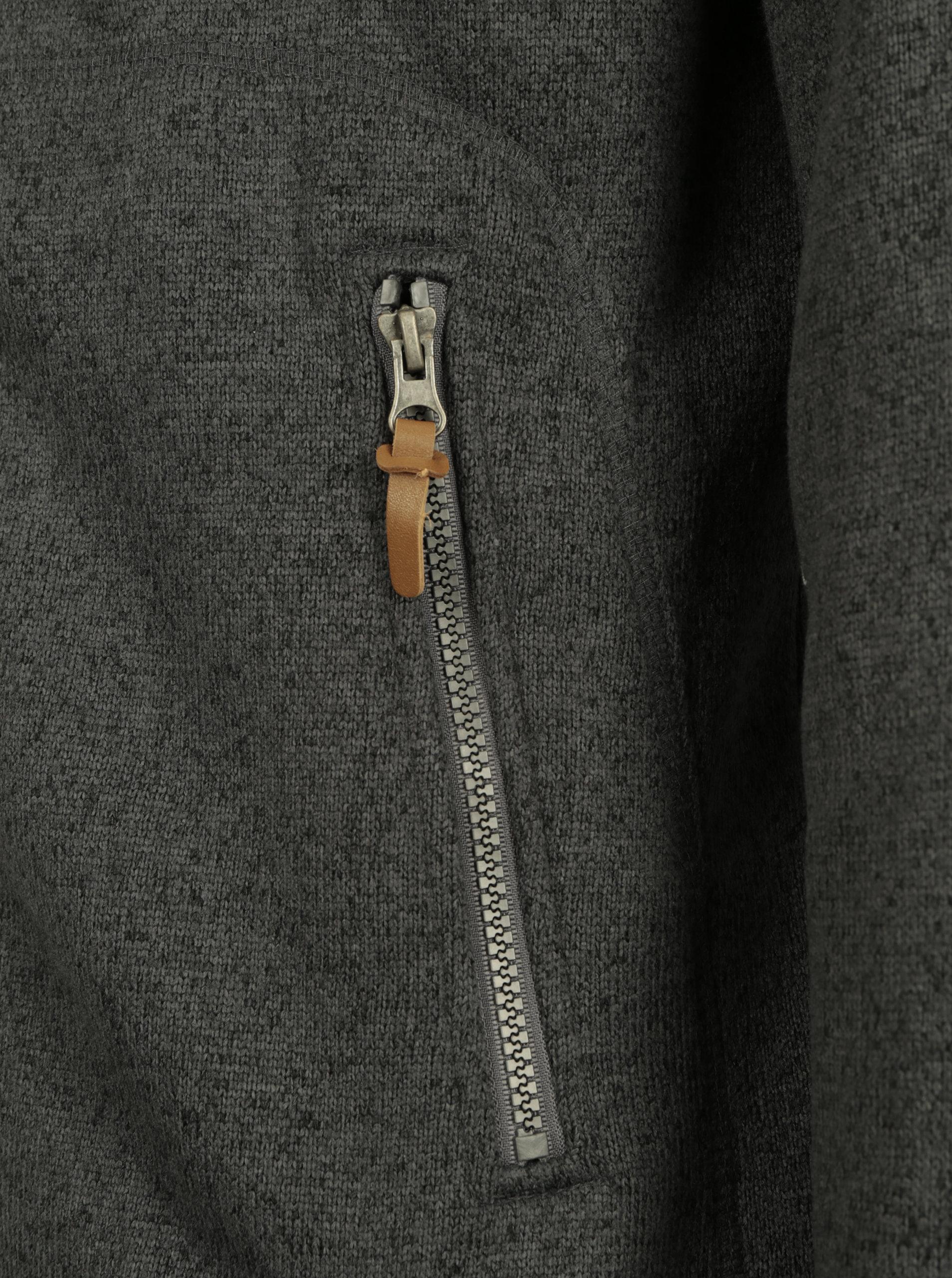 Tmavě šedá pánská žíhaná mikina s kapucí a kapsami LOAP Godet ... 98ce35abb6