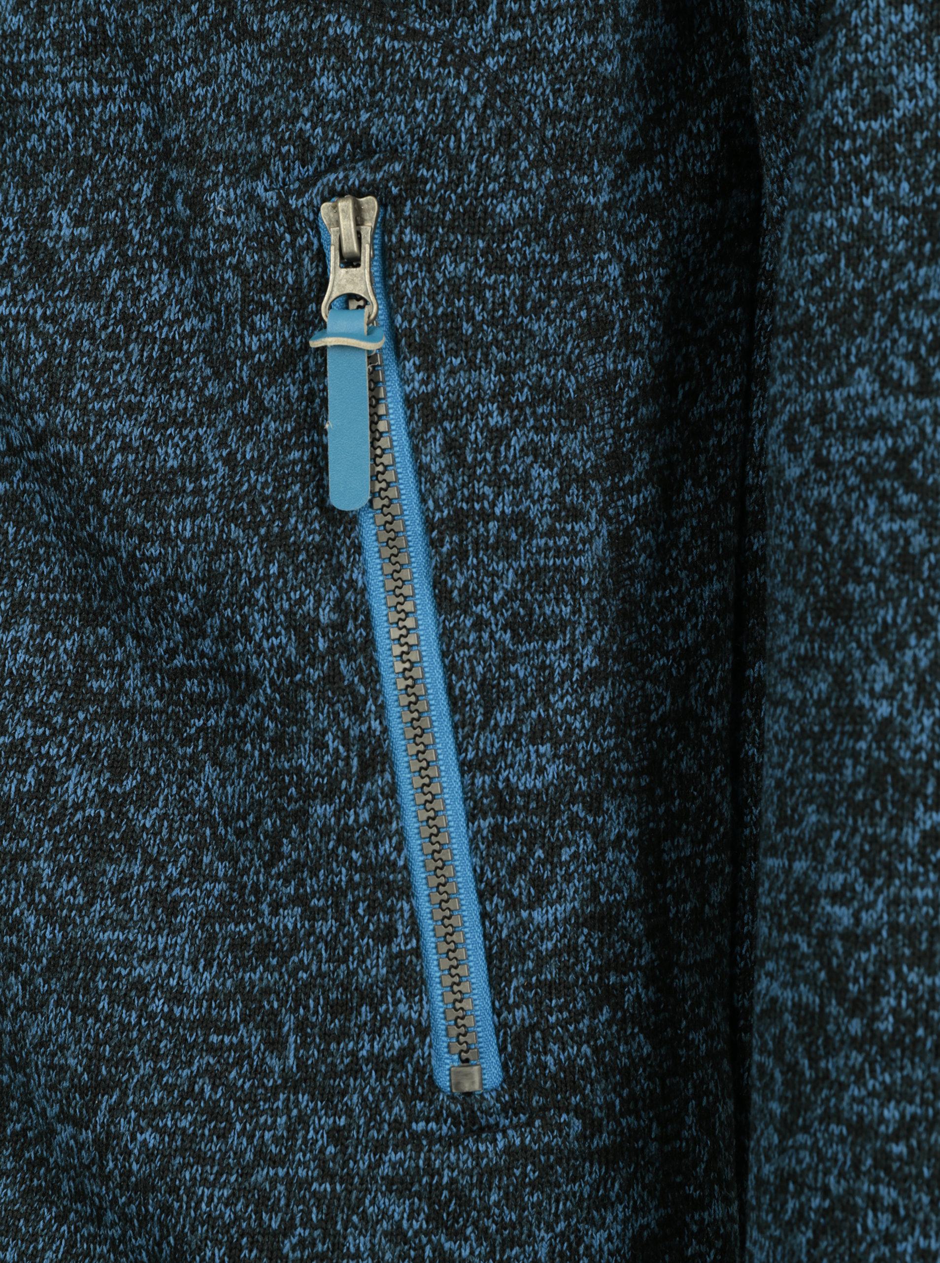 Modrá pánská žíhaná mikina s kapucí a kapsami LOAP Godet ... 4acc37105fc