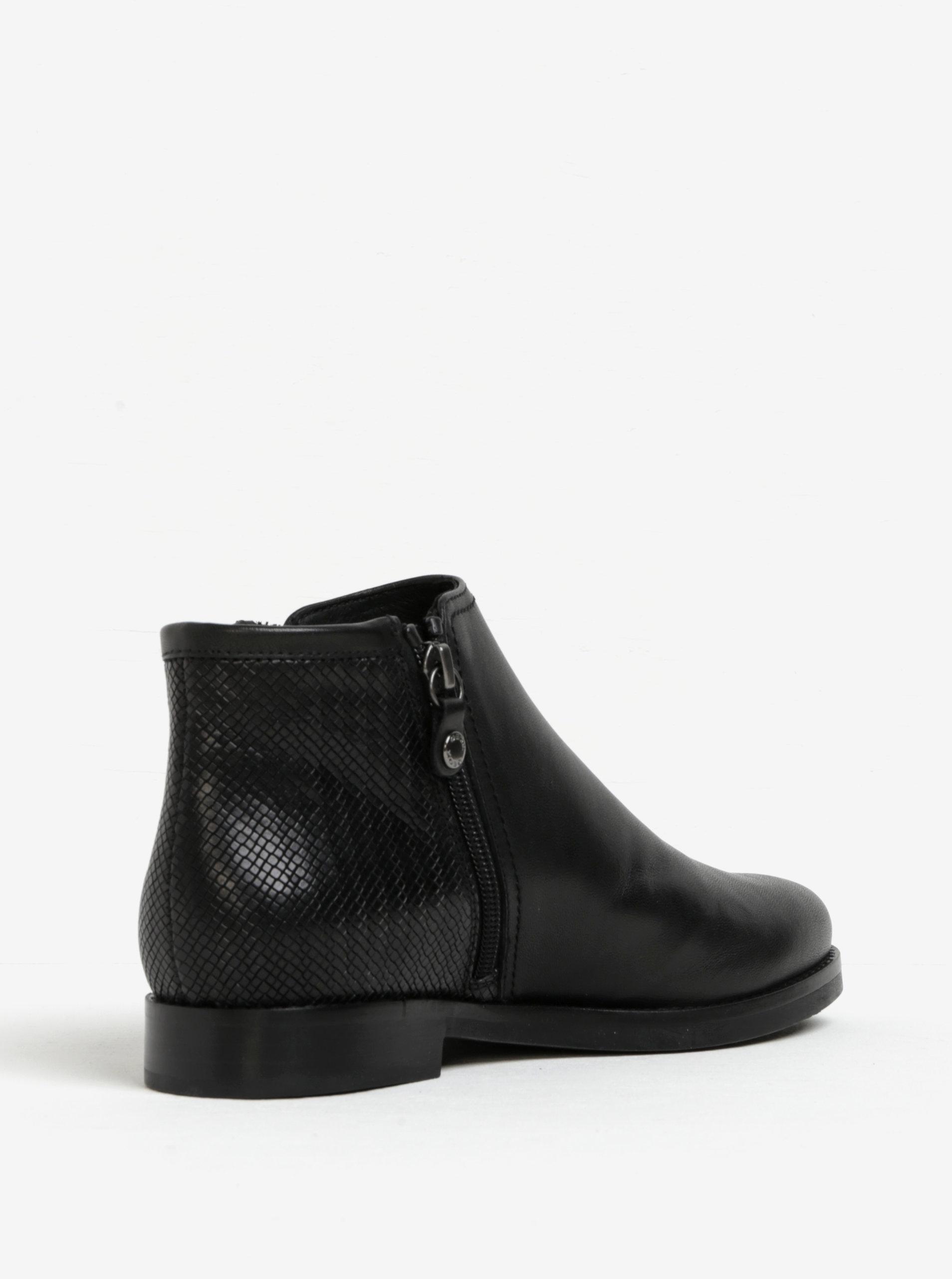 Černé dámské kožené kotníkové boty Geox Promethea ... e52bf73319