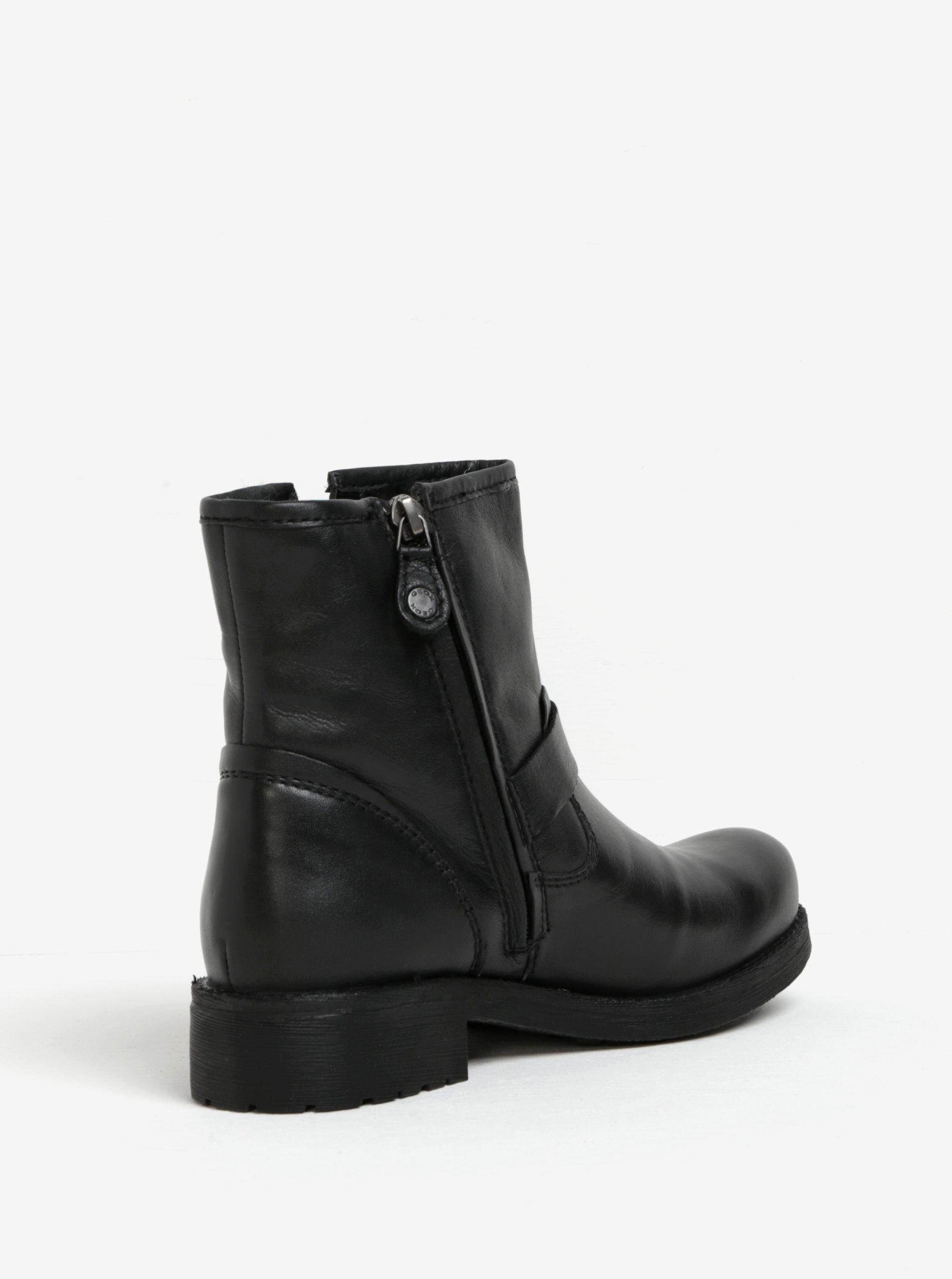 Černé dámské kožené kotníkové boty s přezkou Geox New Virna ... fa63c4f6375