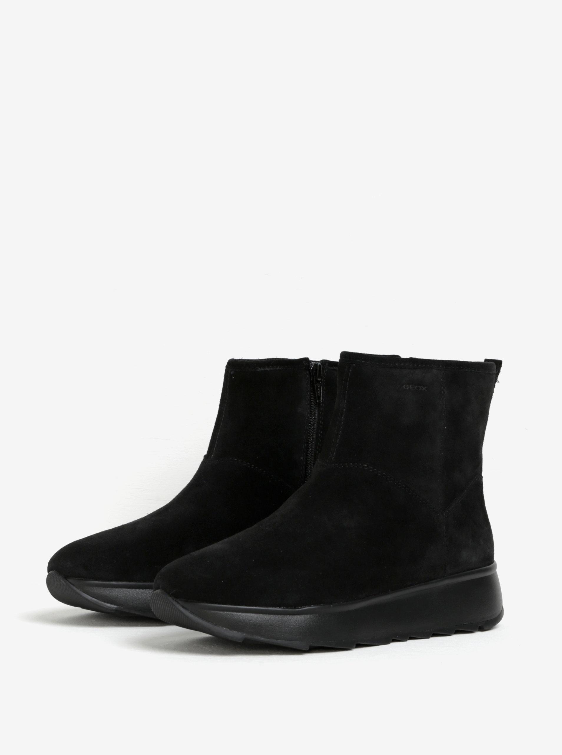 d7d2fb39947 Černé dámské semišové kotníkové boty Geox Gendry ...
