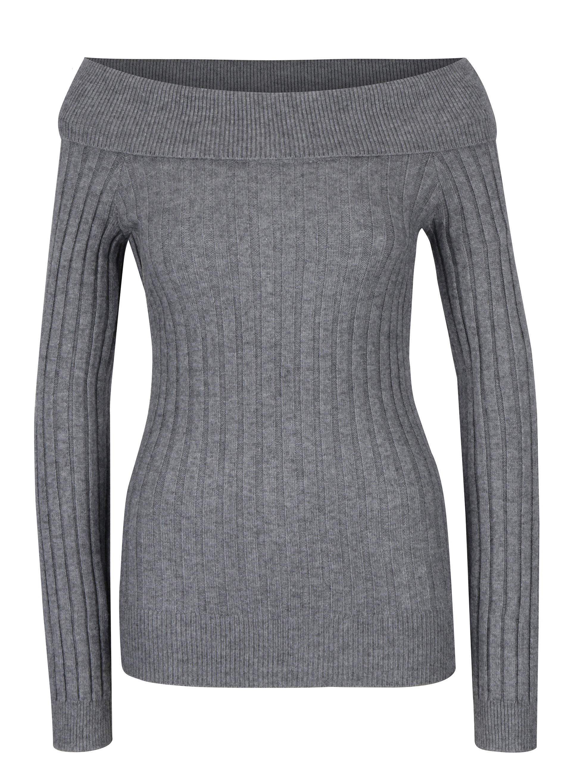 Šedý žebrovaný svetr s odhalenými rameny VERO MODA Ava ... bac2e76f1d