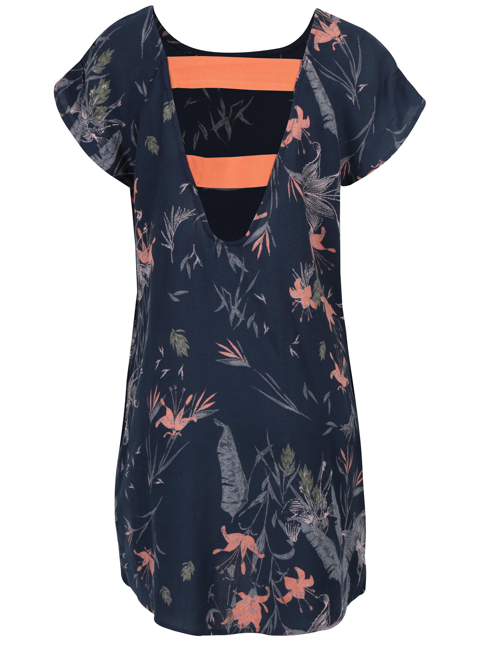 1af437ddf Tmavomodré dámske kvetinové šaty Roxy Peak Moments | ZOOT.sk