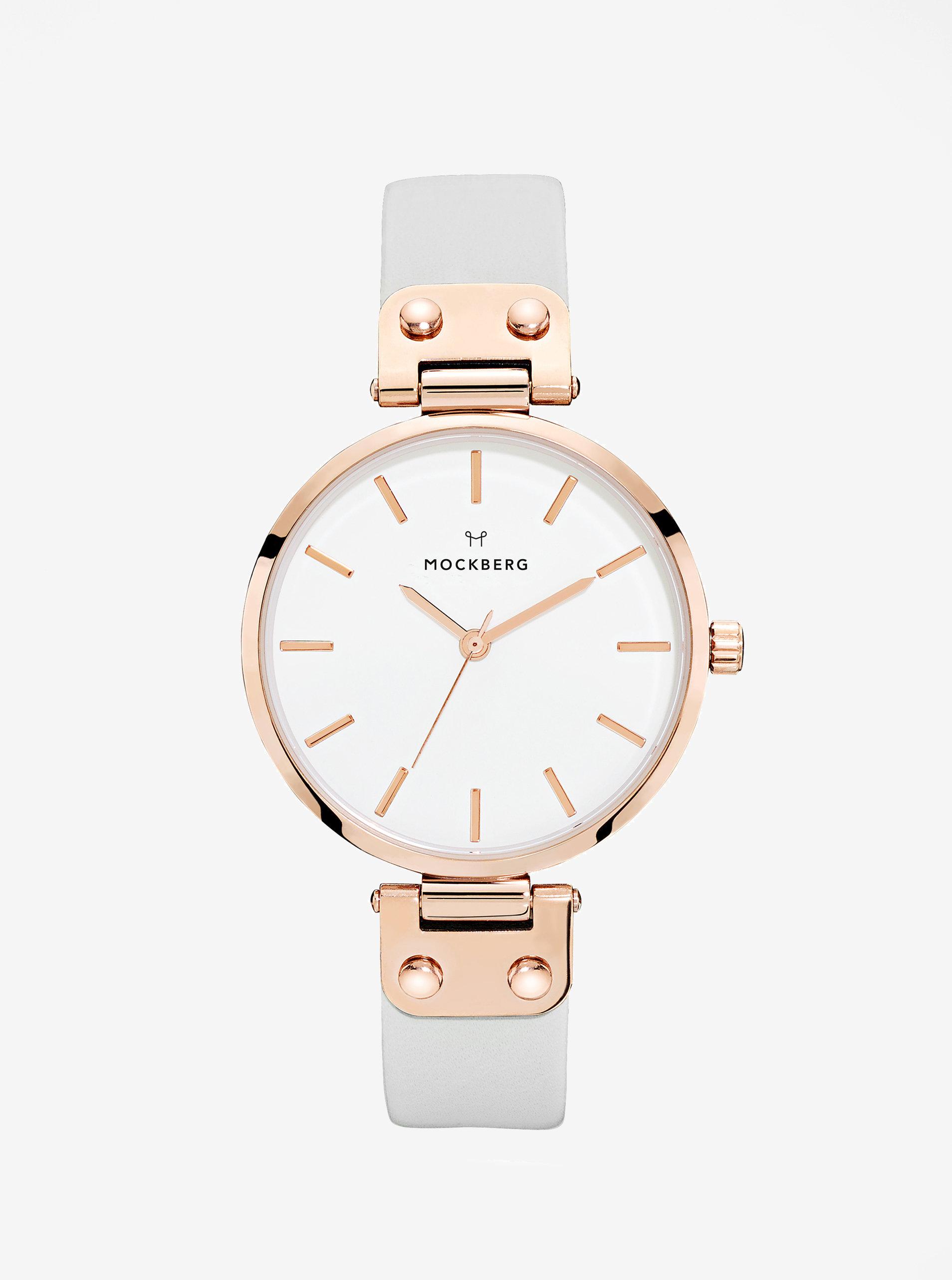 52fb6395bdad Dámske hodinky v ružovozlatej farbe so sivým koženým remienkom MOCKBERG  Alice ...