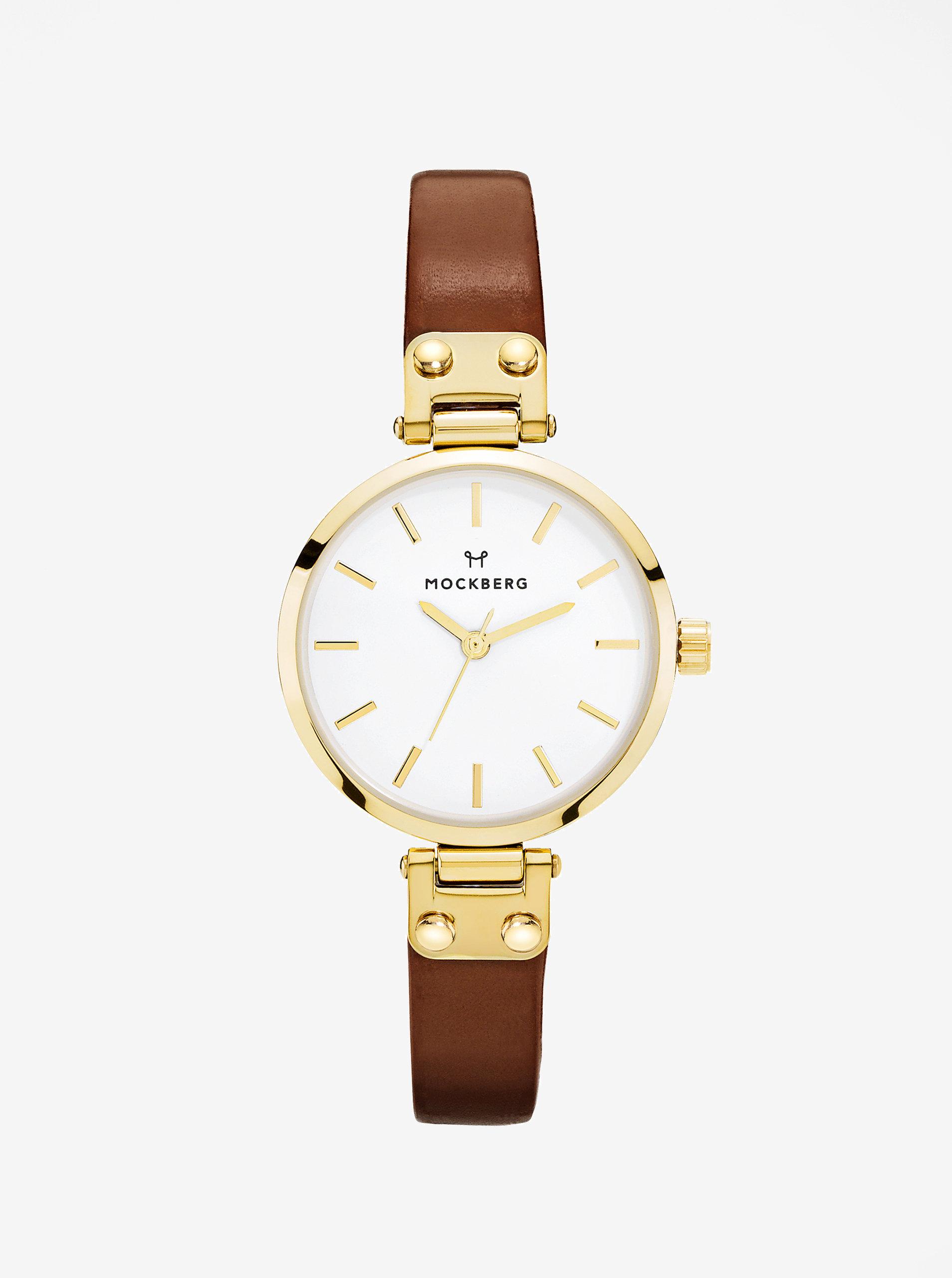 Dámské hodinky ve zlaté barvě s hnědým koženým páskem MOCKBERG Ilse petite  ... 0f0aeb3b71