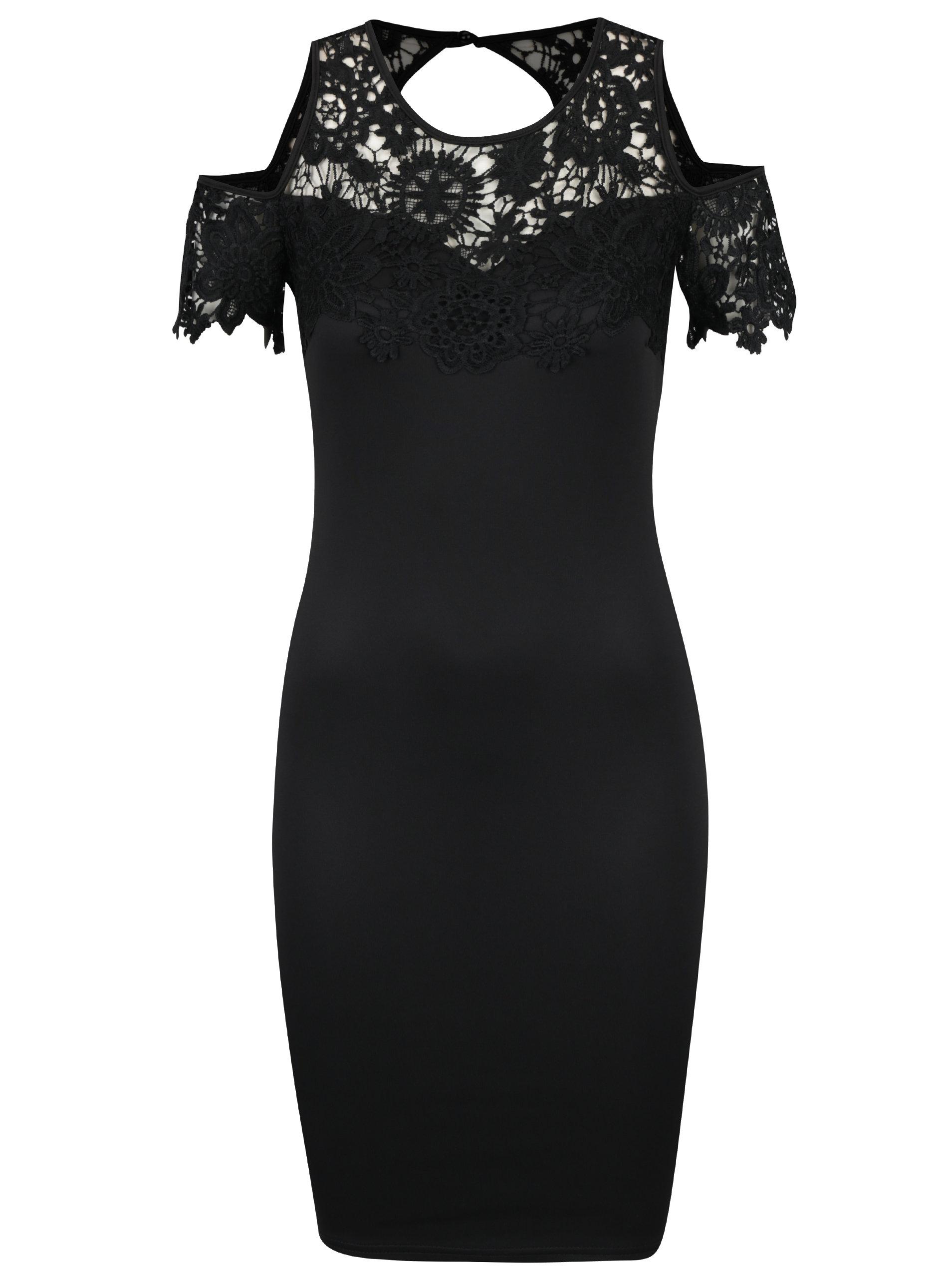 Čierne puzdrové šaty s prestrihmi na ramenách AX Paris ... dc4f613c612