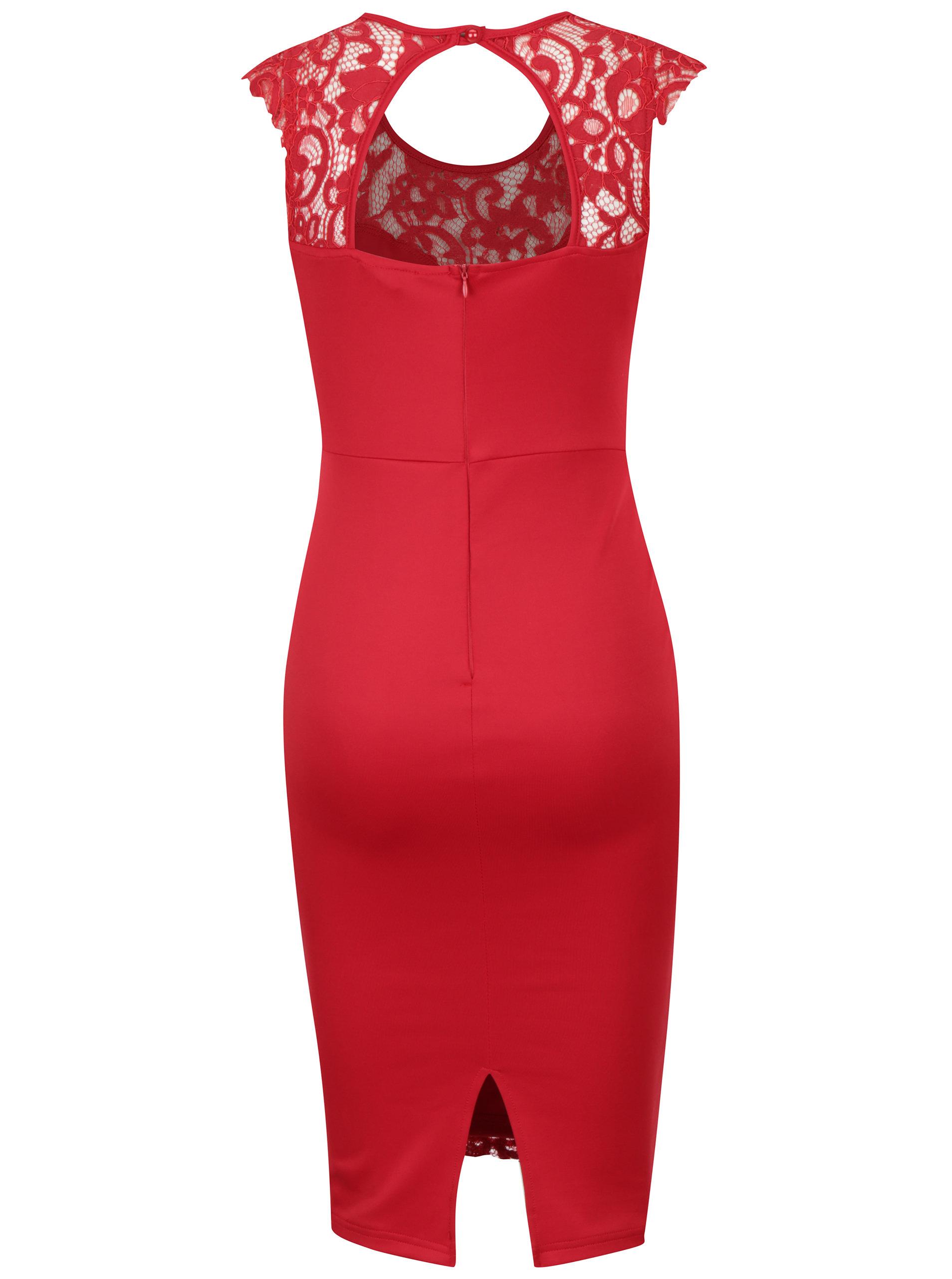 8c2b843a9525 Červené čipkové puzdrové šaty AX Paris ...