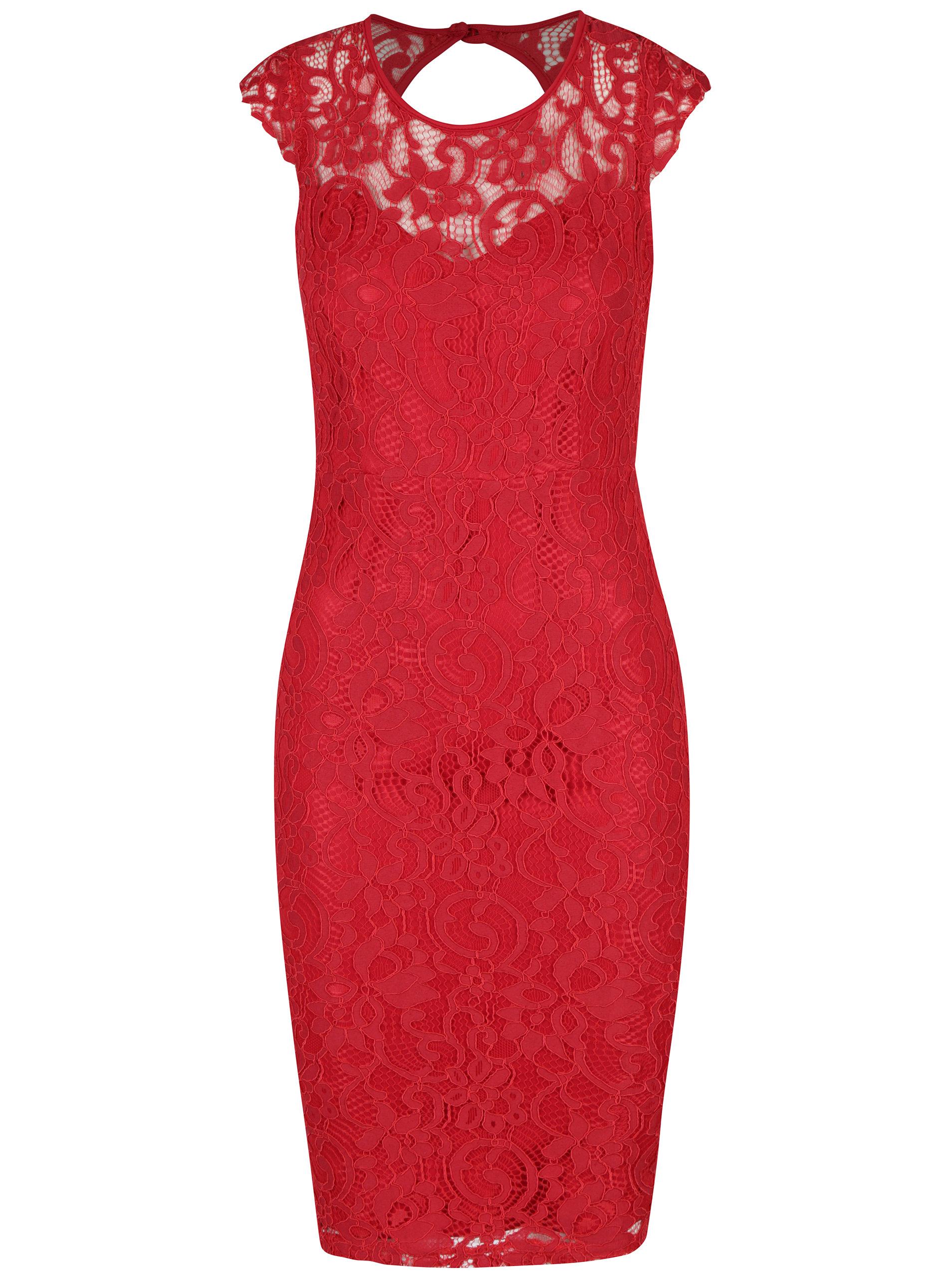 Červené čipkové puzdrové šaty AX Paris ... 38bcc714cba