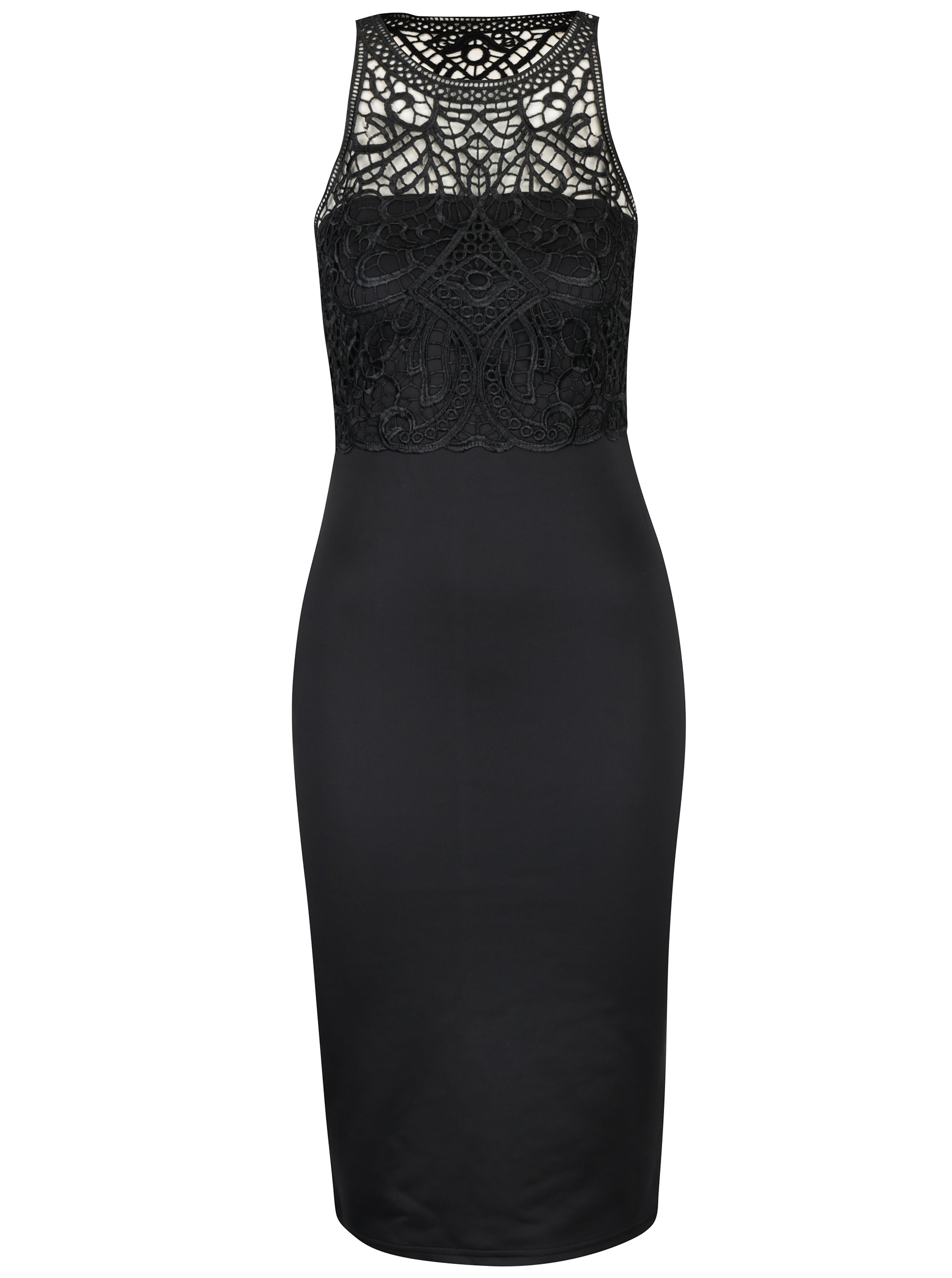 Čierne puzdrové šaty s čipkovým topom AX Paris ... 55fc4246bbf