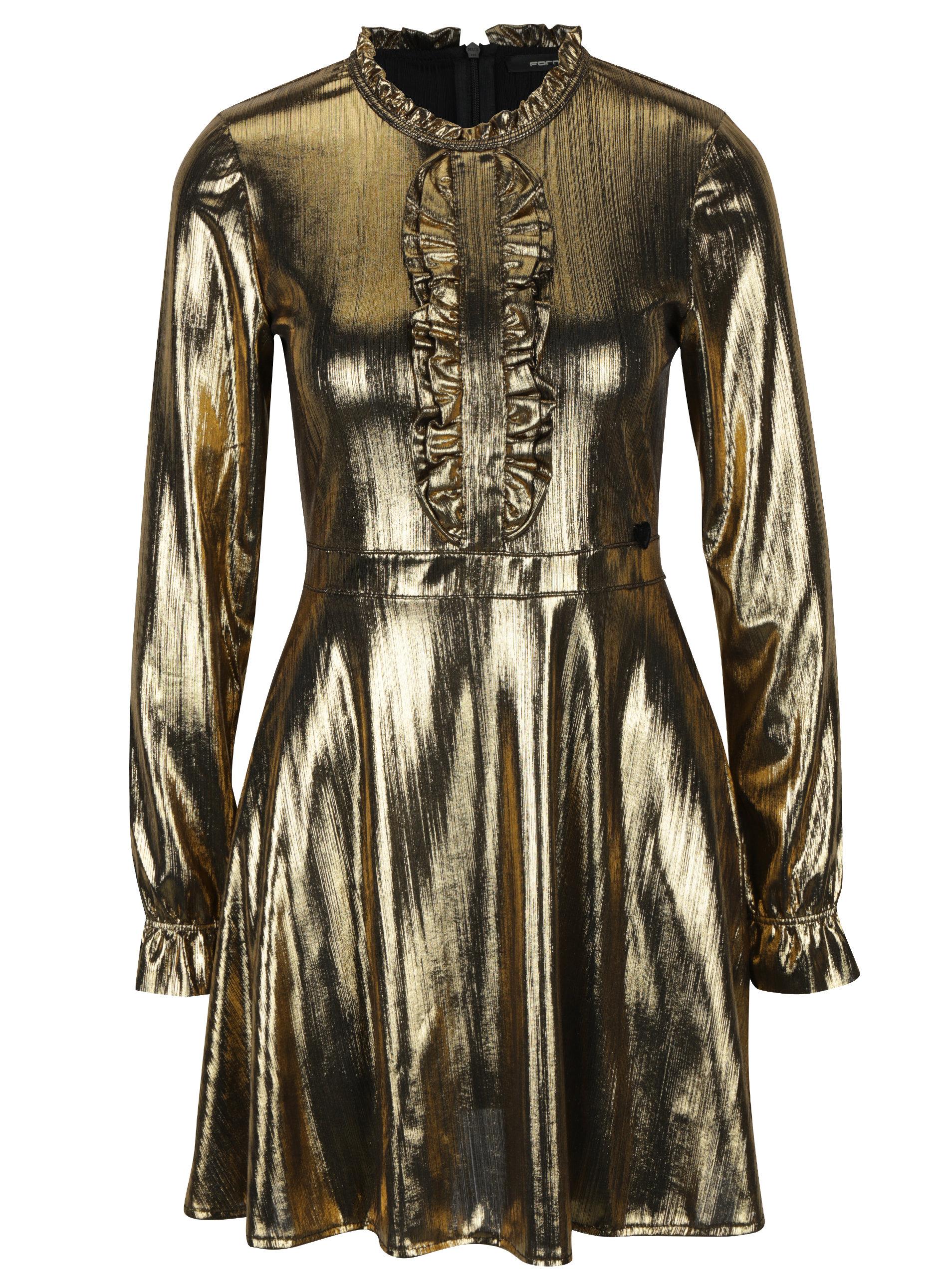 0d3538526c7 Šaty s volány a dlouhým rukávem ve zlaté barvě Fornarina Melissa Easy ...
