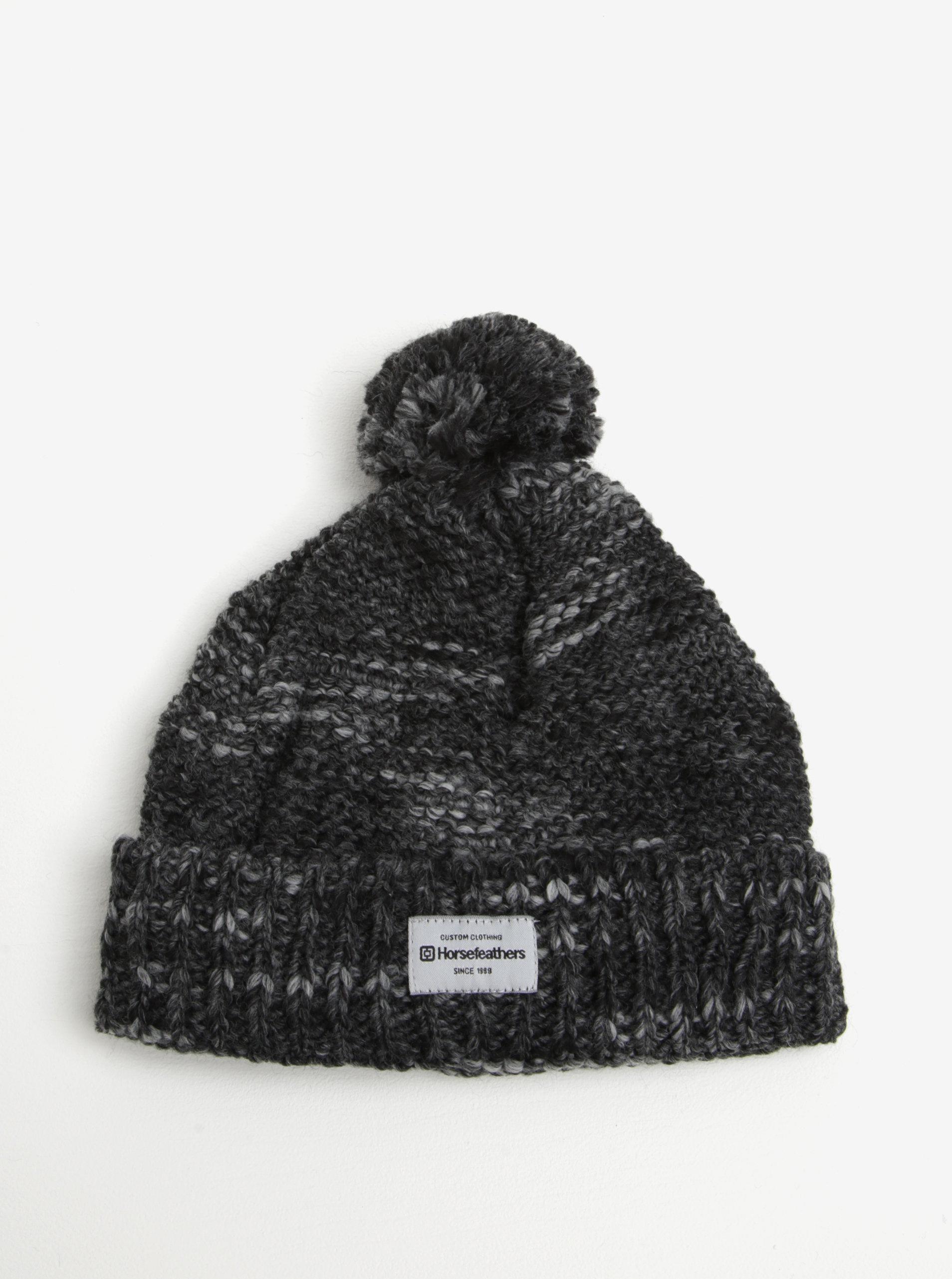 1c332e0c2 Sivá melírovaná dámska zimná čapica s prímesou vlny a brmbolcom  Horsefeathers Tania ...