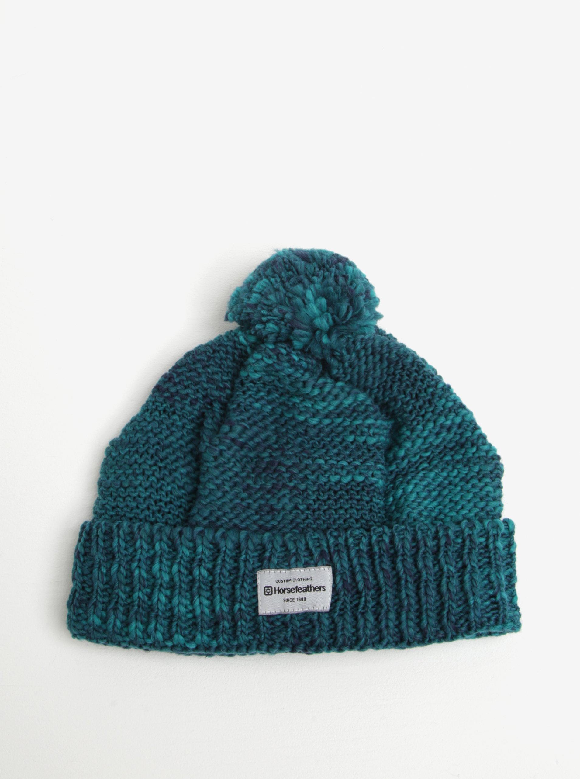 1d8c30c21 Zelená melírovaná dámska zimná čapica s prímesou vlny a brmbolcom  Horsefeathers Tania ...