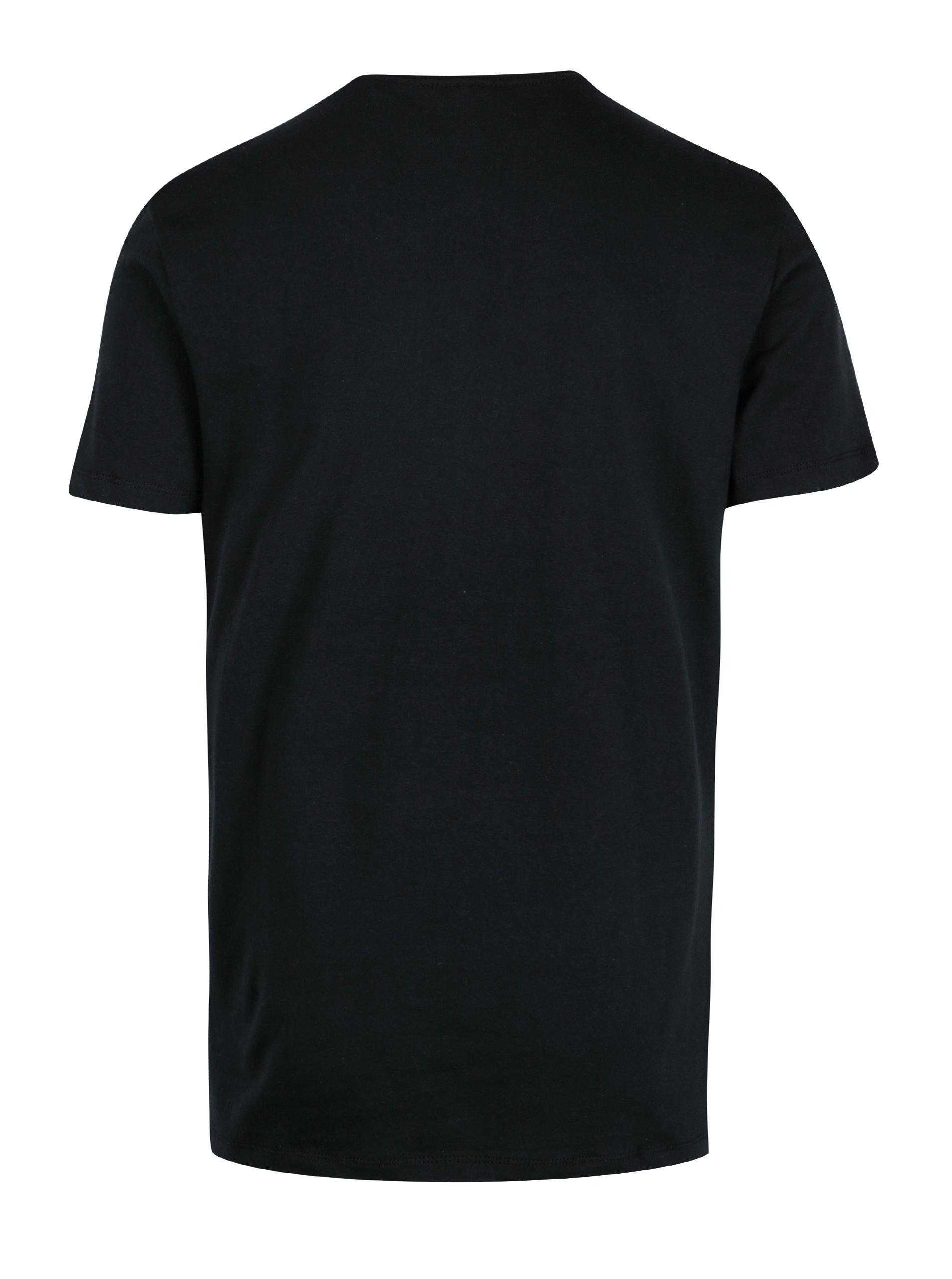 085e2b3d384 Černé tričko s krátkým rukávem a potiskem Blend ...