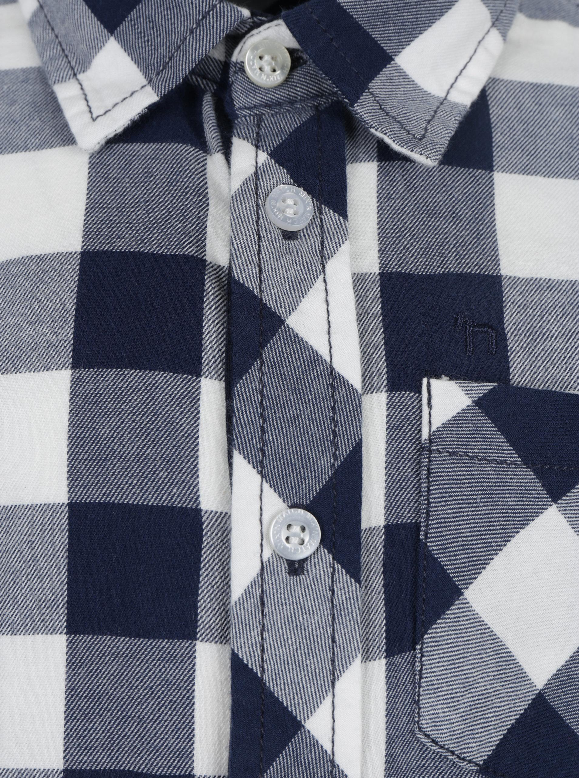 da3a24b11f0f Modrá chlapčenská kockovaná košeľa s vreckom Mix´n Match ...