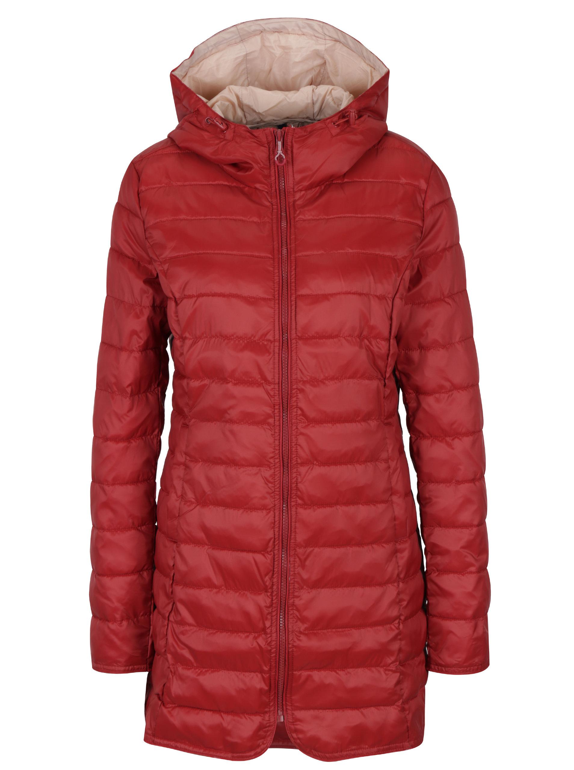 Červený prešívaný kabát s kapucňou ONLY Tahoe ... e4faaf343f6