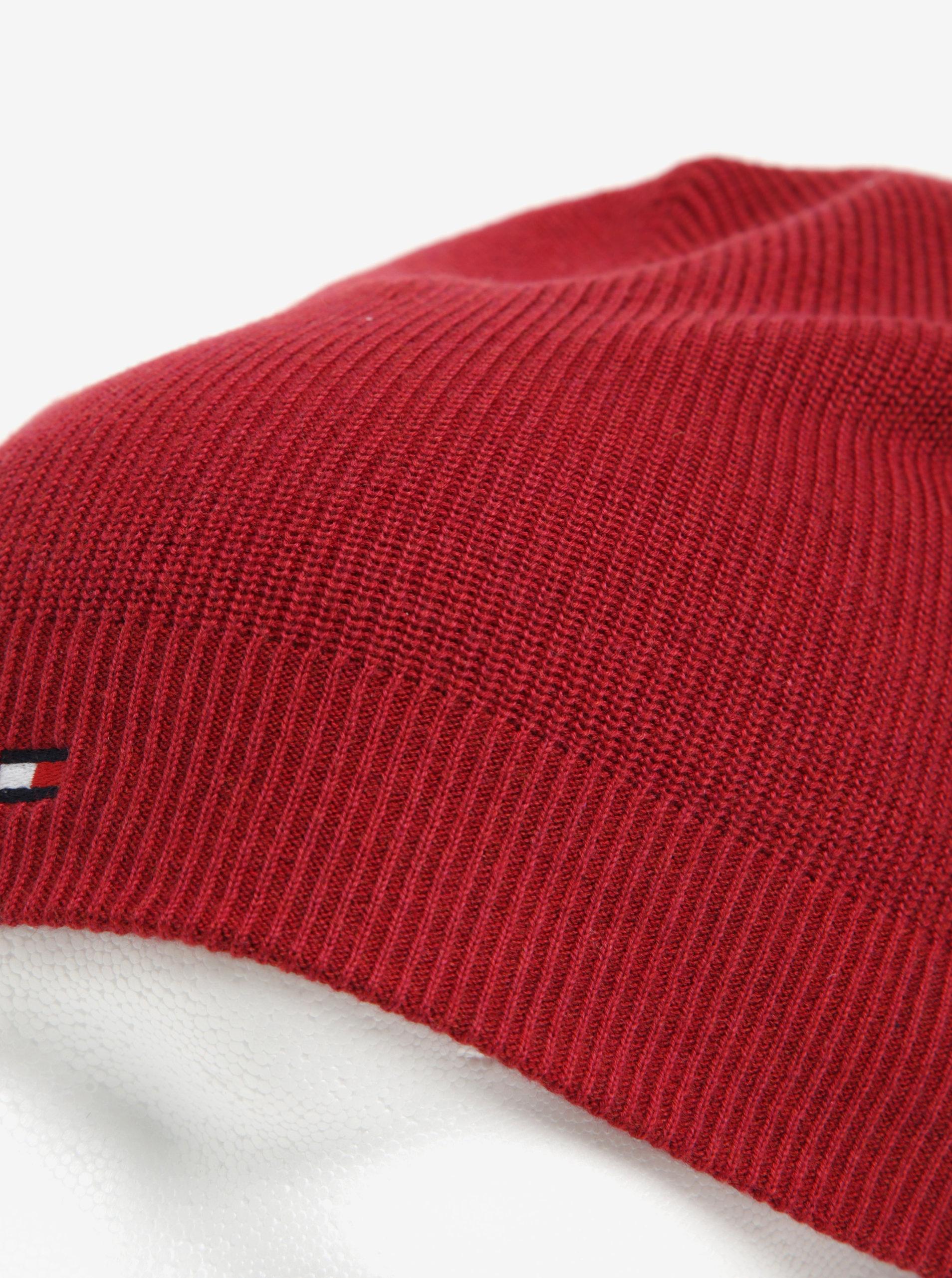 Vínová pánska čiapka Tommy Hilfiger ... 695f6582726