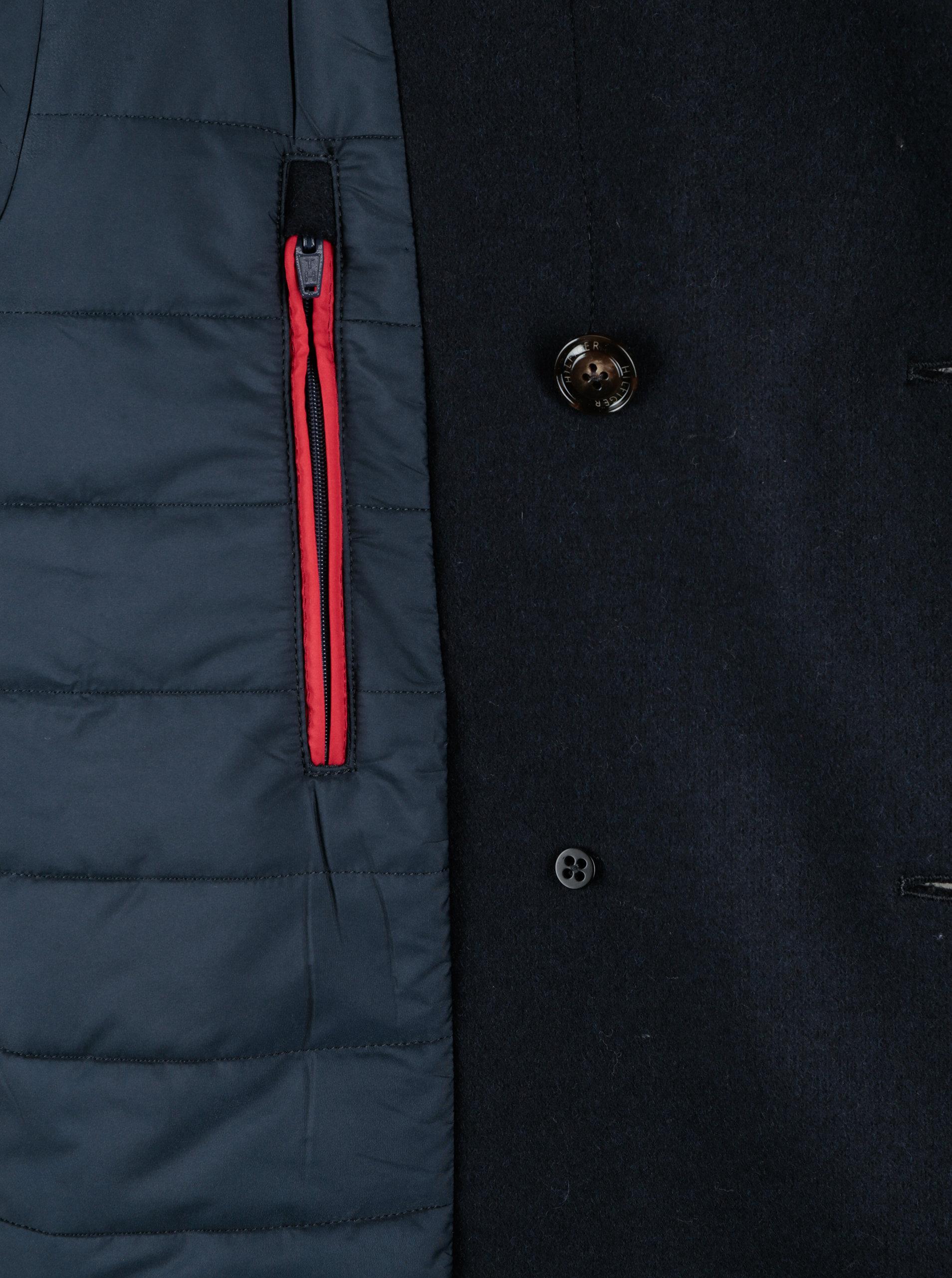 Tmavě modrý pánský krátký vlněný kabát Tommy Hilfiger Jersey ... ac0b6294af
