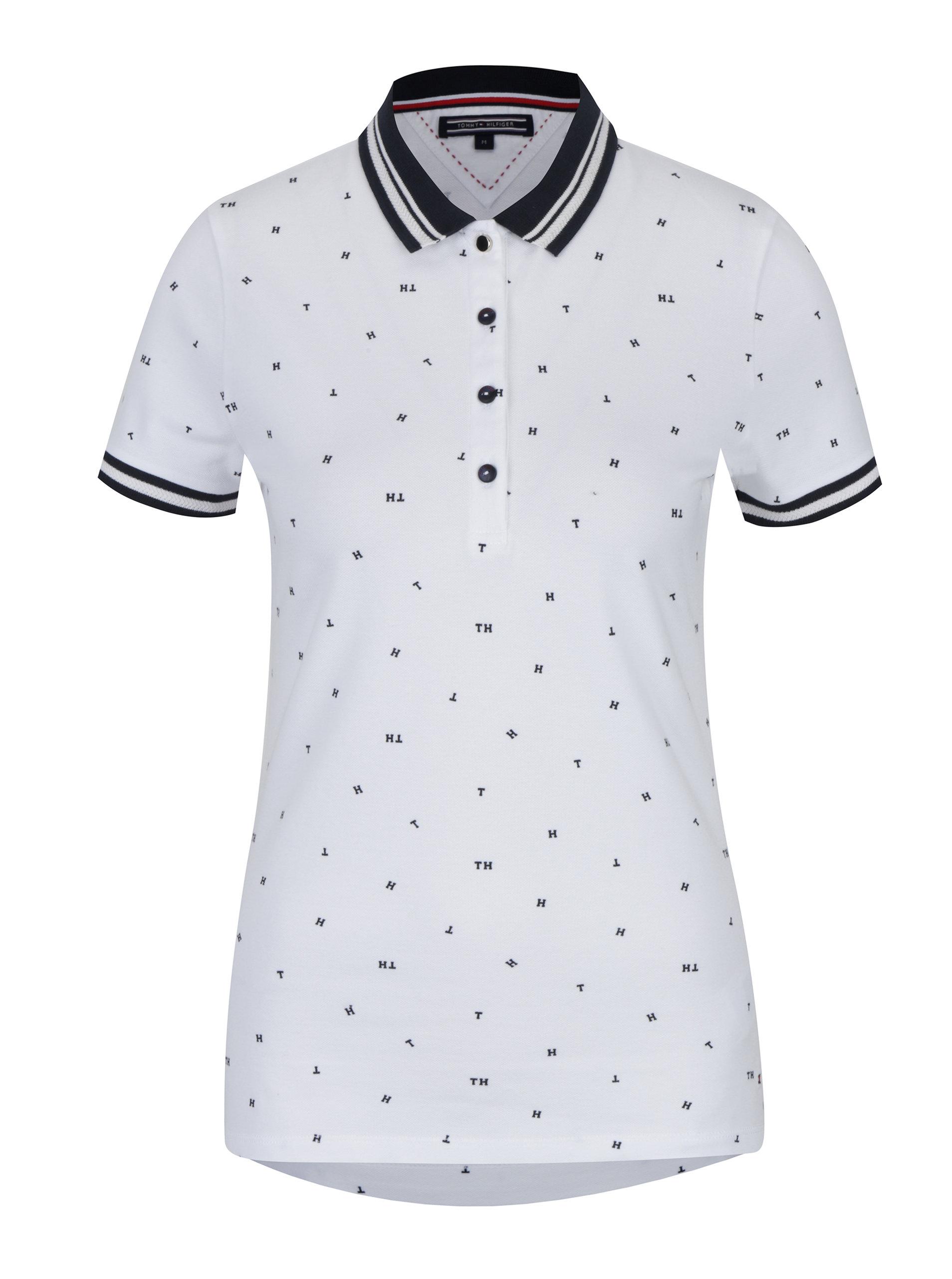 Bílé dámské vzorované polo tričko Tommy Hilfiger Talisha ... 54eaeb00ebd