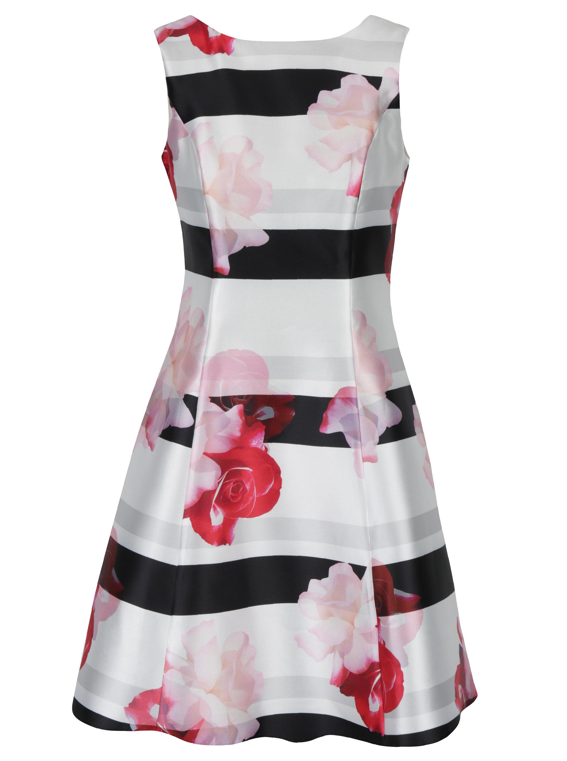 Čierno-biele pruhované kvetované šaty Dorothy Perkins ... ae5379bca0a