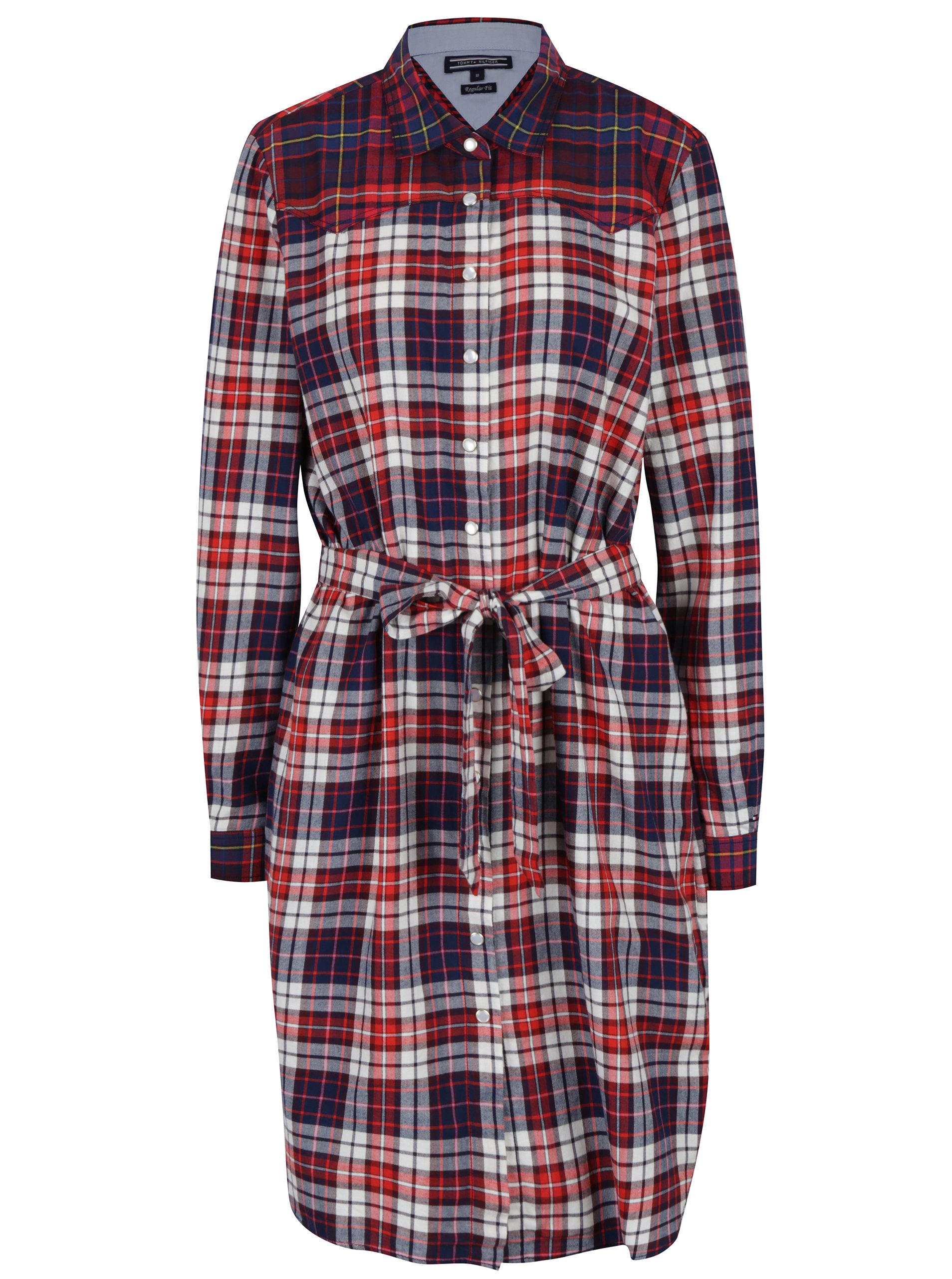 Krémovo-červené kostkované košilové šaty Tommy Hilfiger Janet ... e5976e6042