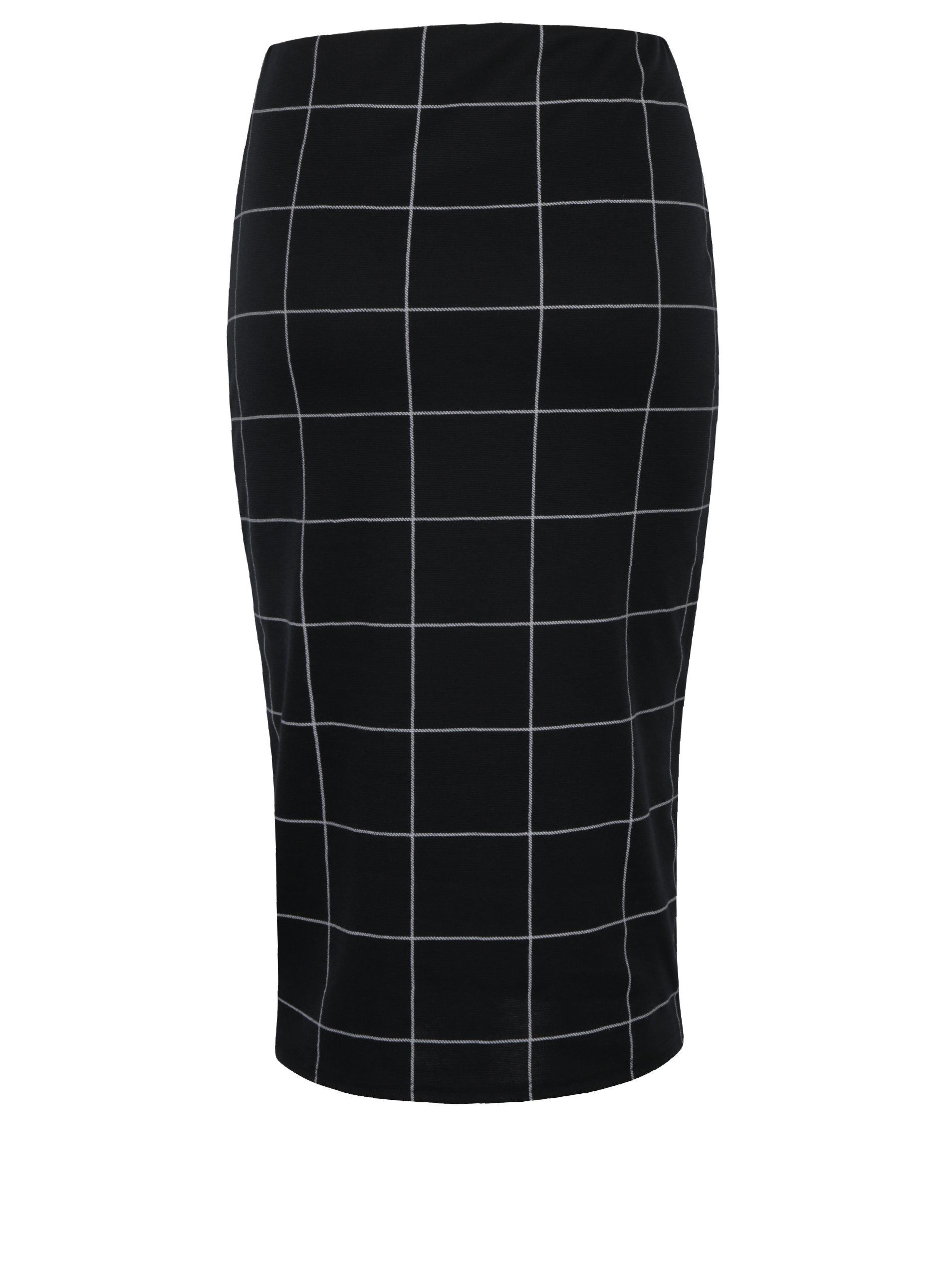 71842b7e514f Černá kostkovaná pouzdrová sukně s volánem Dorothy Perkins ...
