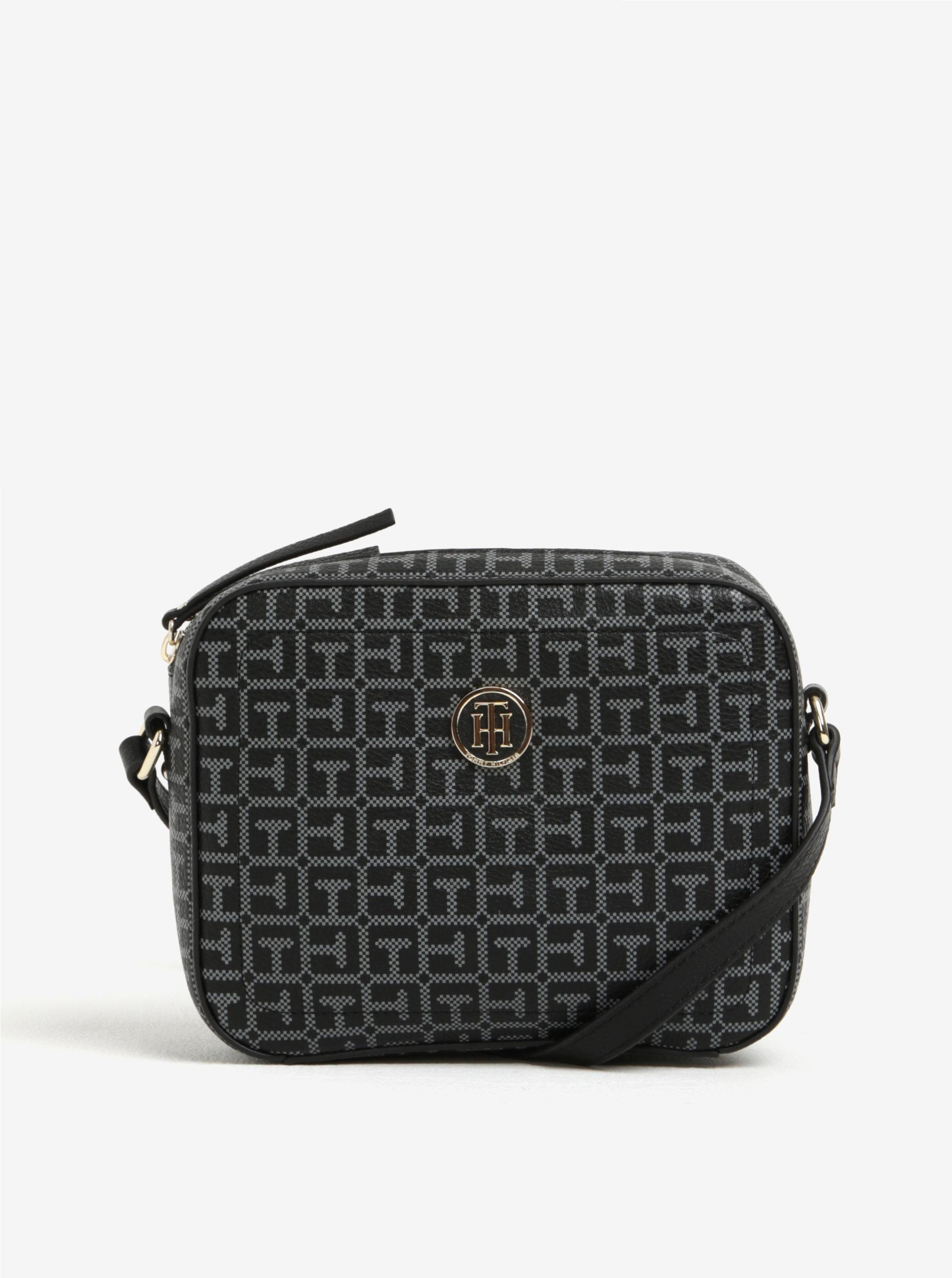 Sivo-čierna dámska vzorovaná crossbody kabelka Tommy Hilfiger ... ce1c5bd256