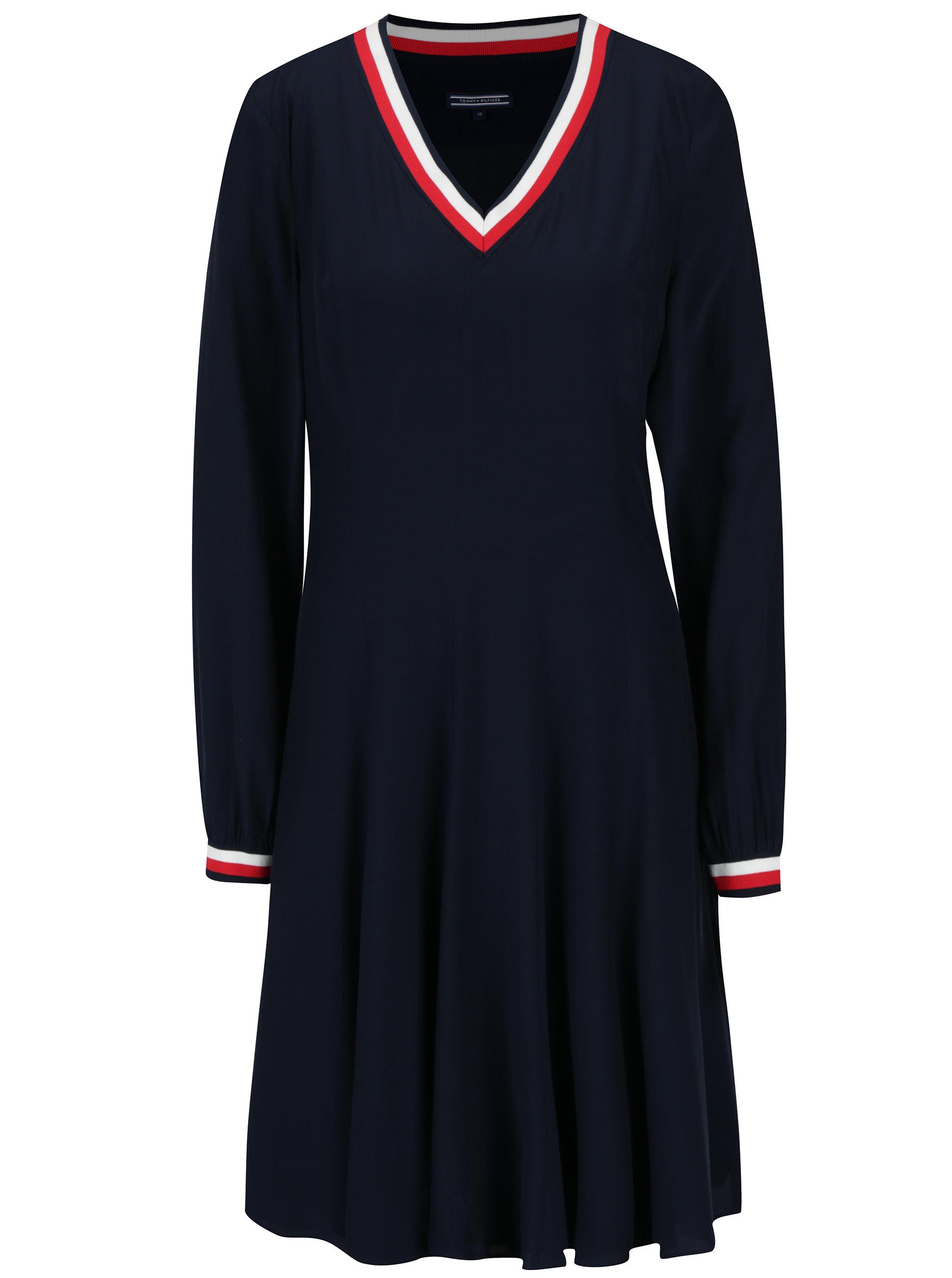 Tmavě modré šaty s dlouhým rukávem Tommy Hilfiger ... 09d3252666d