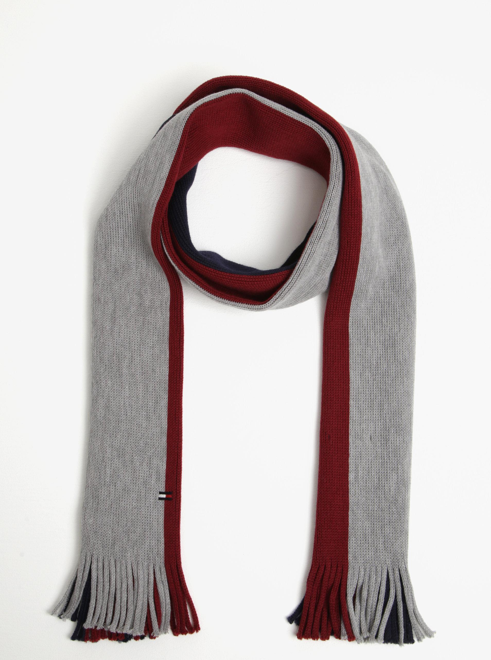 Červeno–modrý pánsky vlnený šál so strapcami Tommy Hilfiger ... 72a3fa4ff20