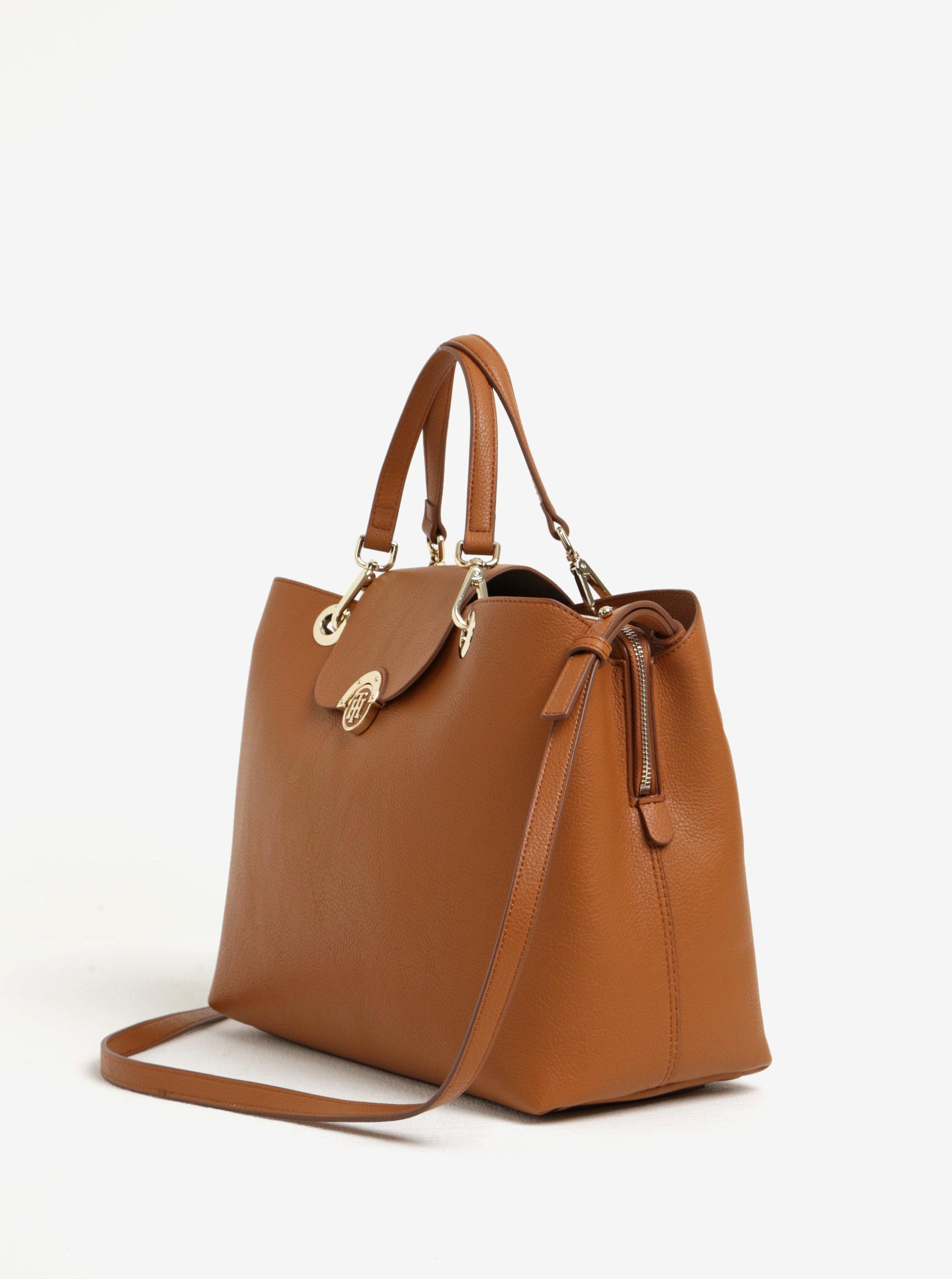 Hnědá dámská kabelka s oboustrannou klopou Tommy Hilfiger ... a43c0a9c188